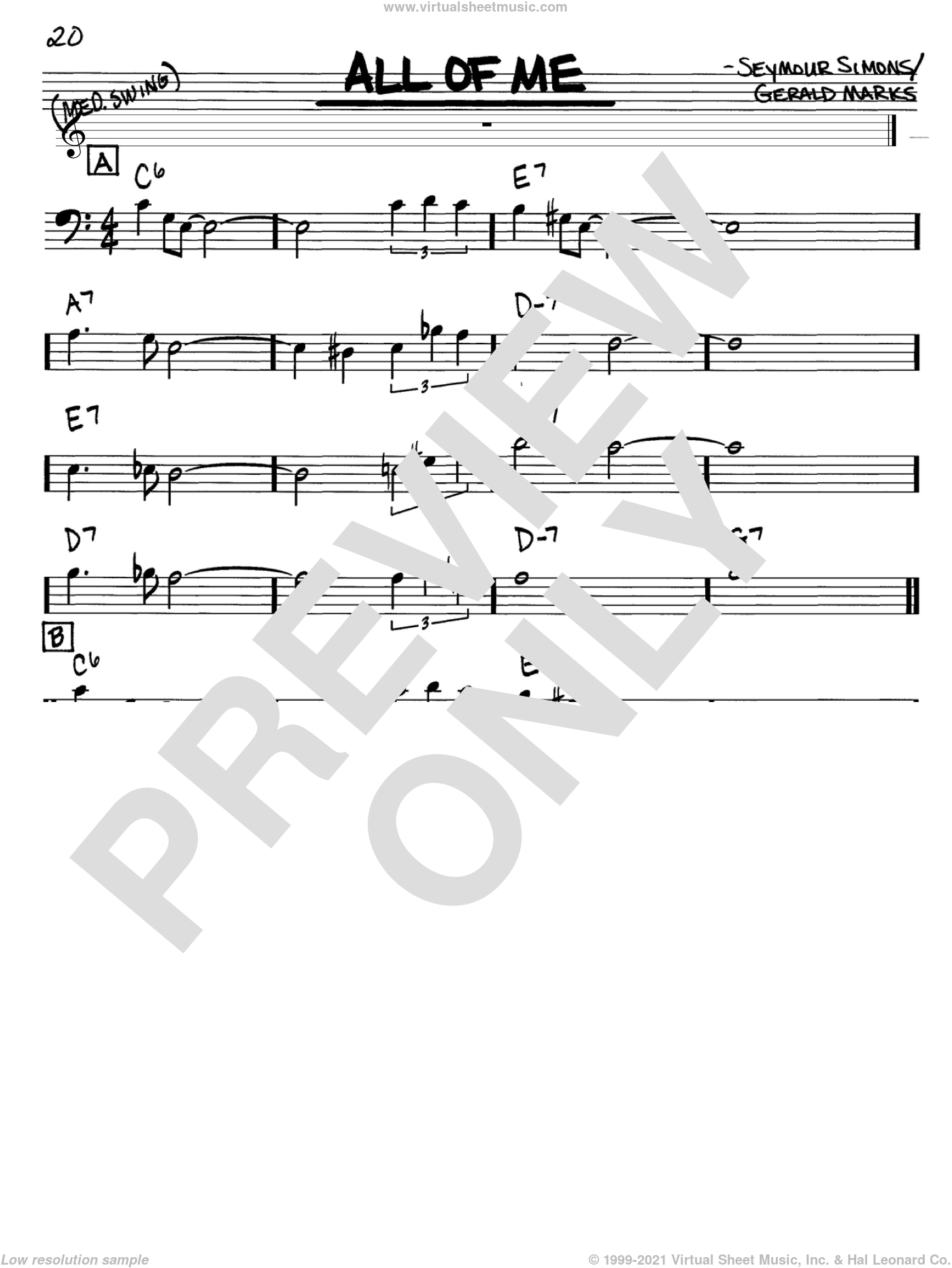 All Of Me sheet music for voice and other instruments (Bass Clef ) by Louis Armstrong, Frank Sinatra, Willie Nelson, Gerald Marks and Seymour Simons, intermediate voice. Score Image Preview.