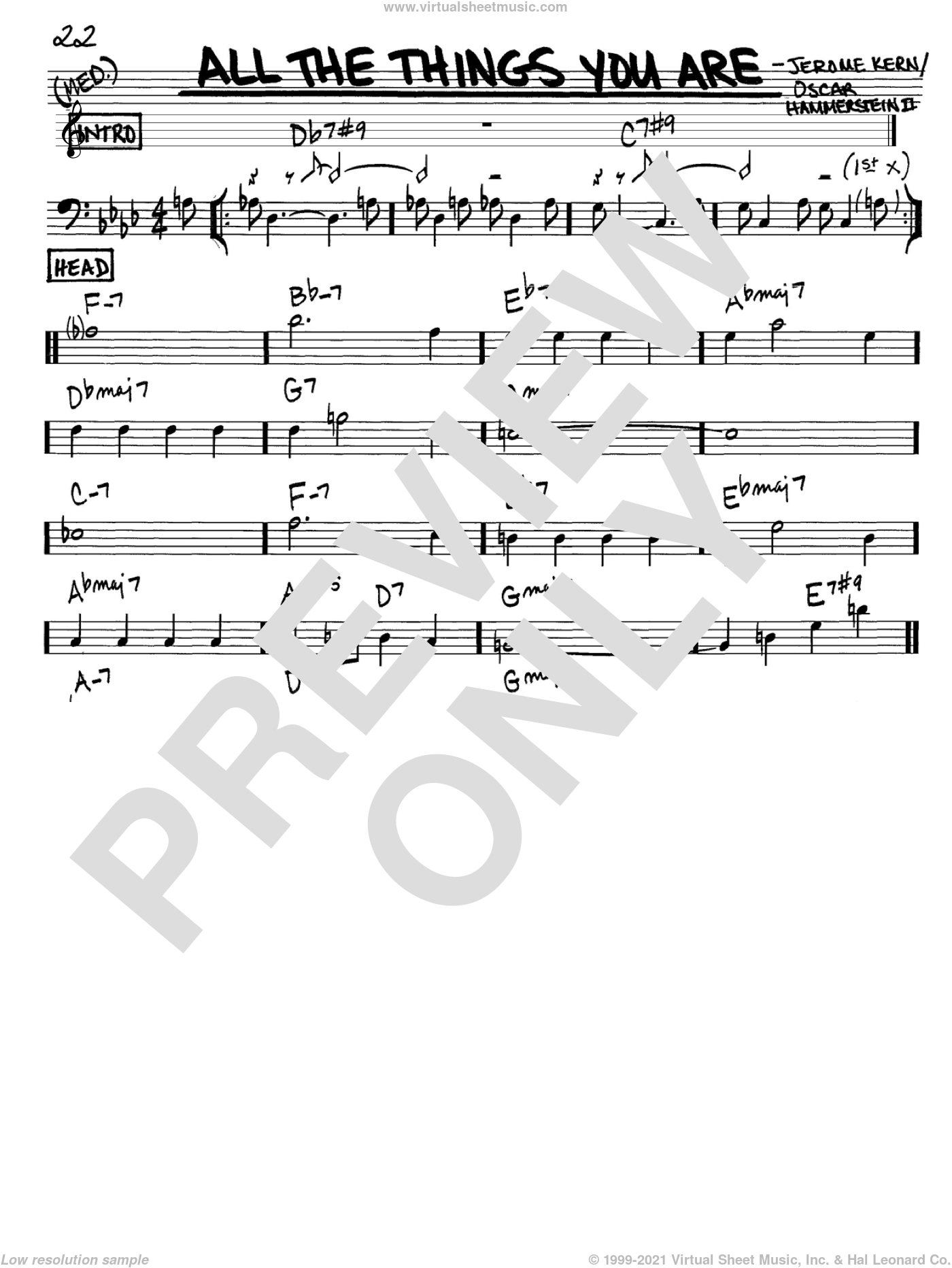 All The Things You Are sheet music for voice and other instruments (Bass Clef ) by Oscar II Hammerstein and Jerome Kern. Score Image Preview.