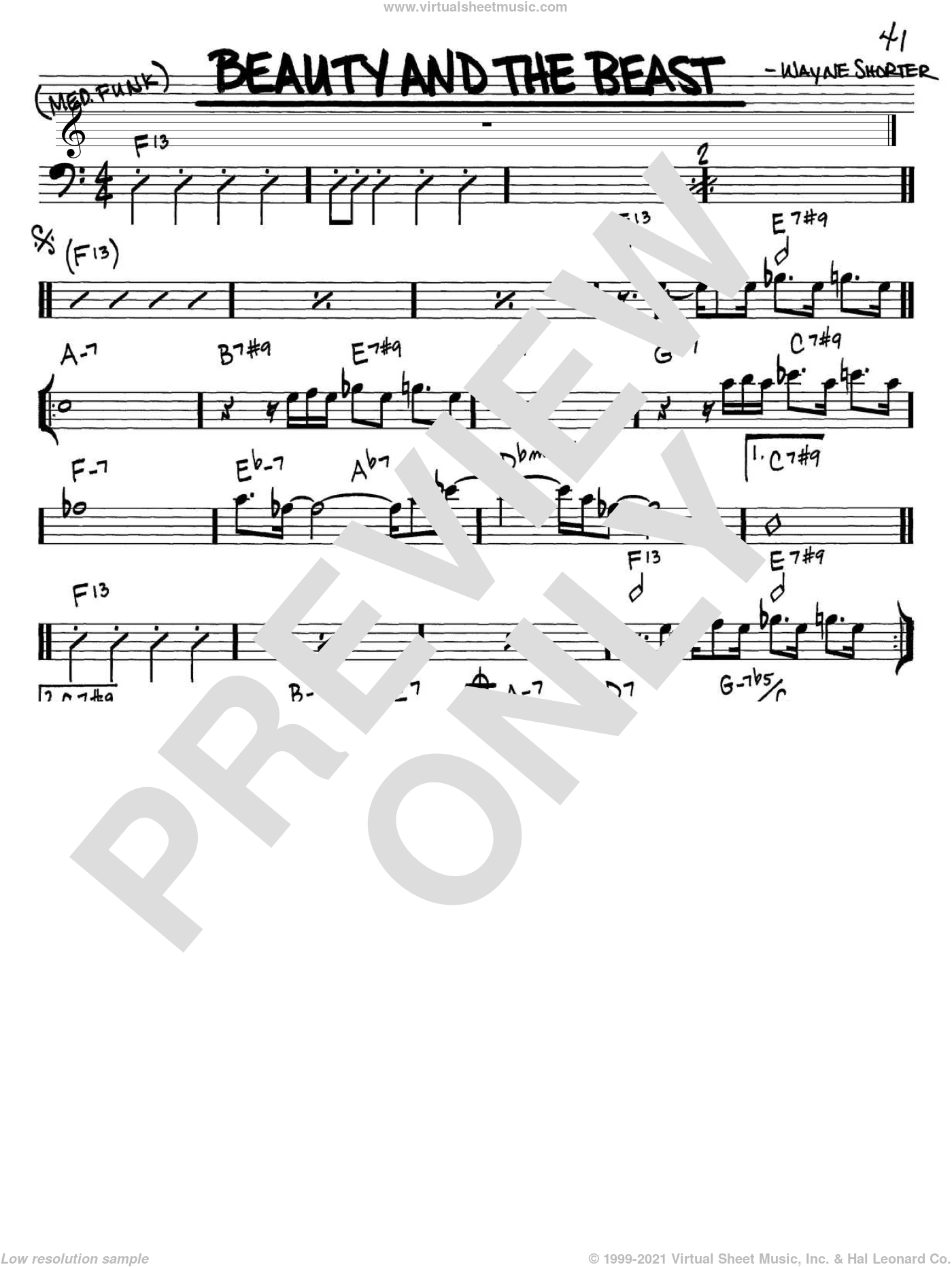 Beauty And The Beast sheet music for voice and other instruments (bass clef) by Wayne Shorter, intermediate skill level