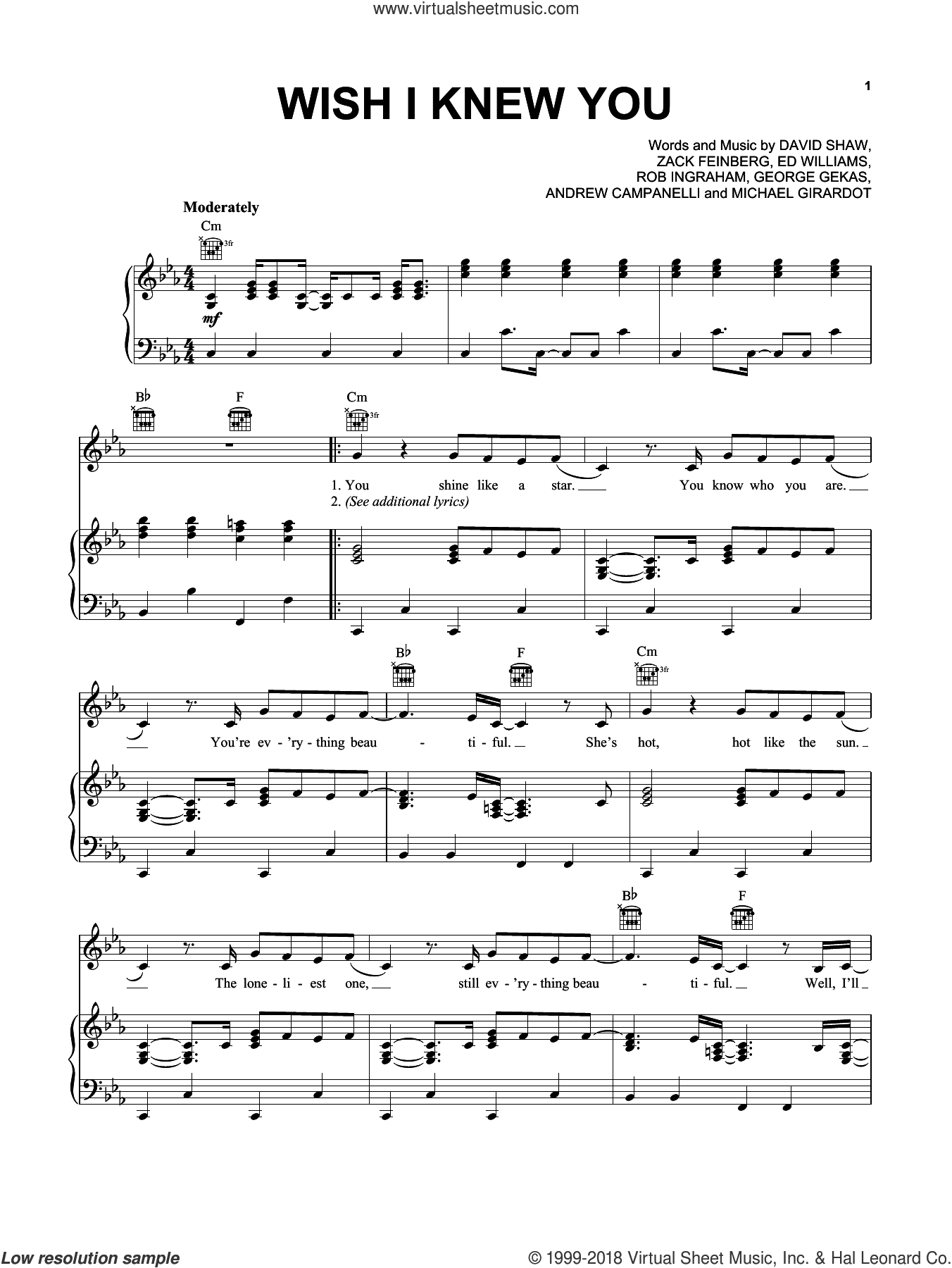 Wish I Knew You sheet music for voice, piano or guitar by The Revivalists, Andrew Campanelli, David Shaw, Ed Williams, George Gekas, Michael Girardot, Rob Ingraham and Zack Feinberg, intermediate skill level
