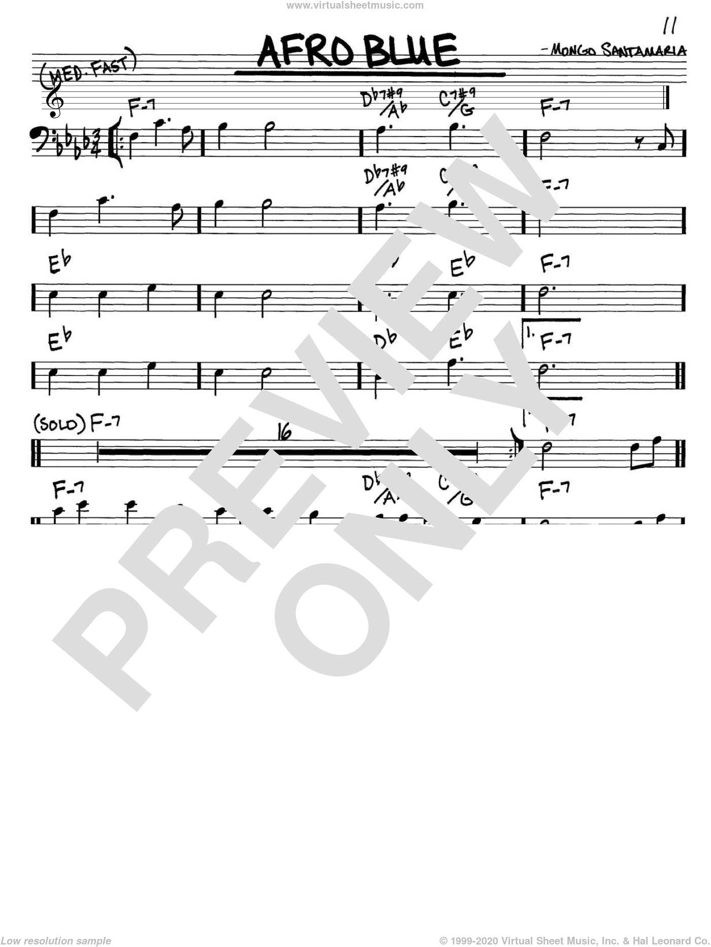 Afro Blue sheet music for voice and other instruments (bass clef) by John Coltrane and Mongo Santamaria, intermediate skill level