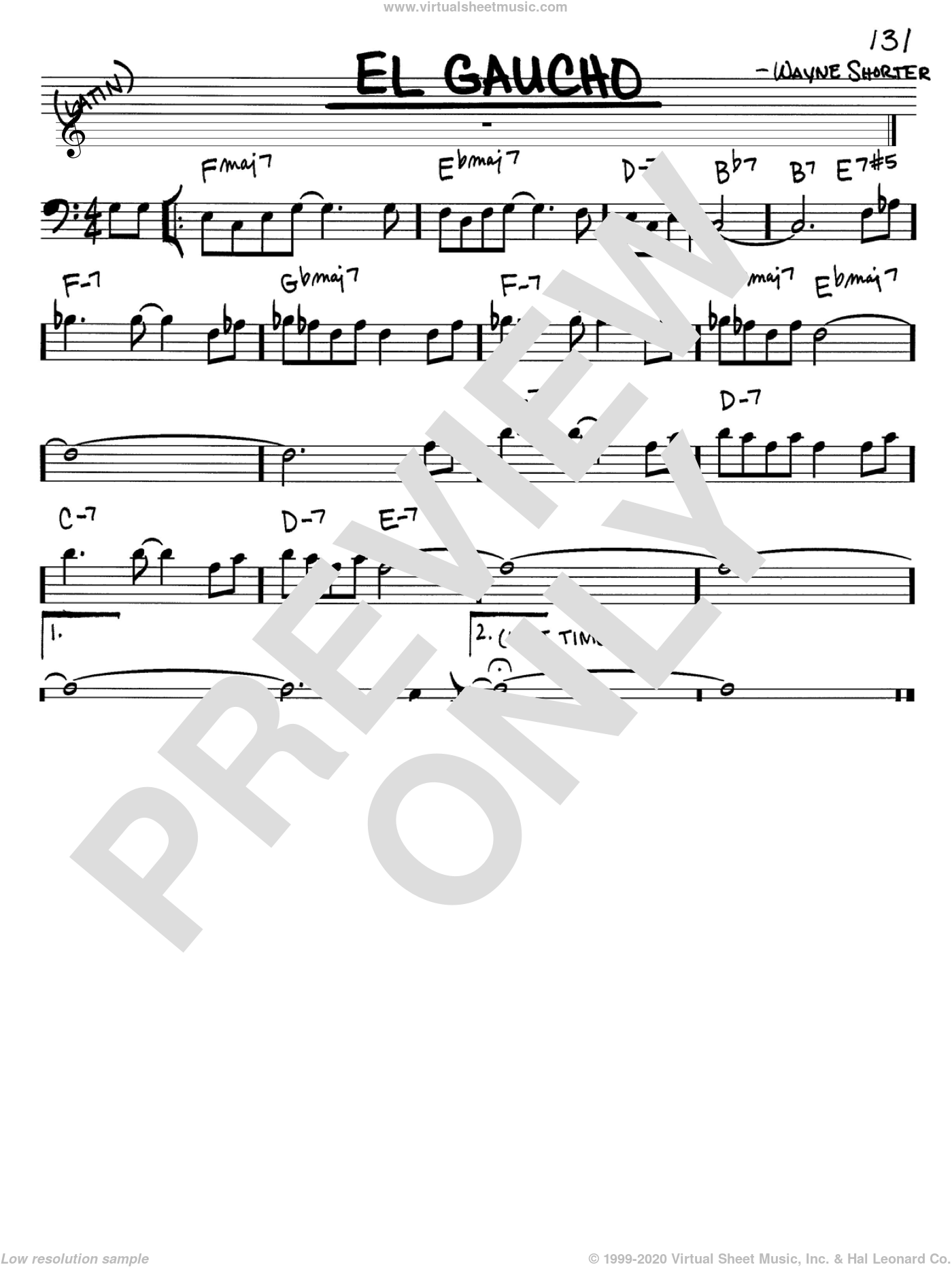 El Gaucho sheet music for voice and other instruments (Bass Clef ) by Wayne Shorter, intermediate voice. Score Image Preview.