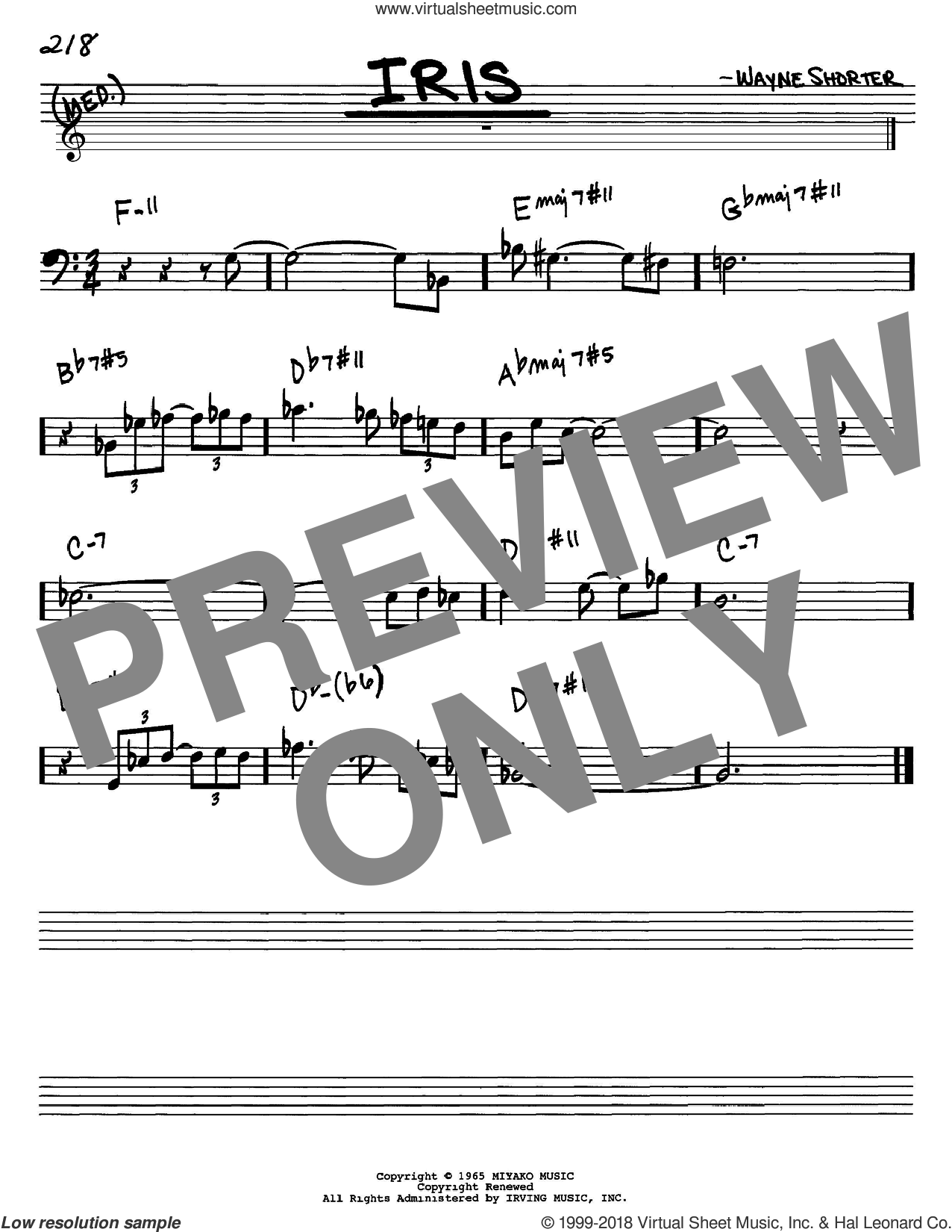 Iris sheet music for voice and other instruments (Bass Clef ) by Wayne Shorter. Score Image Preview.