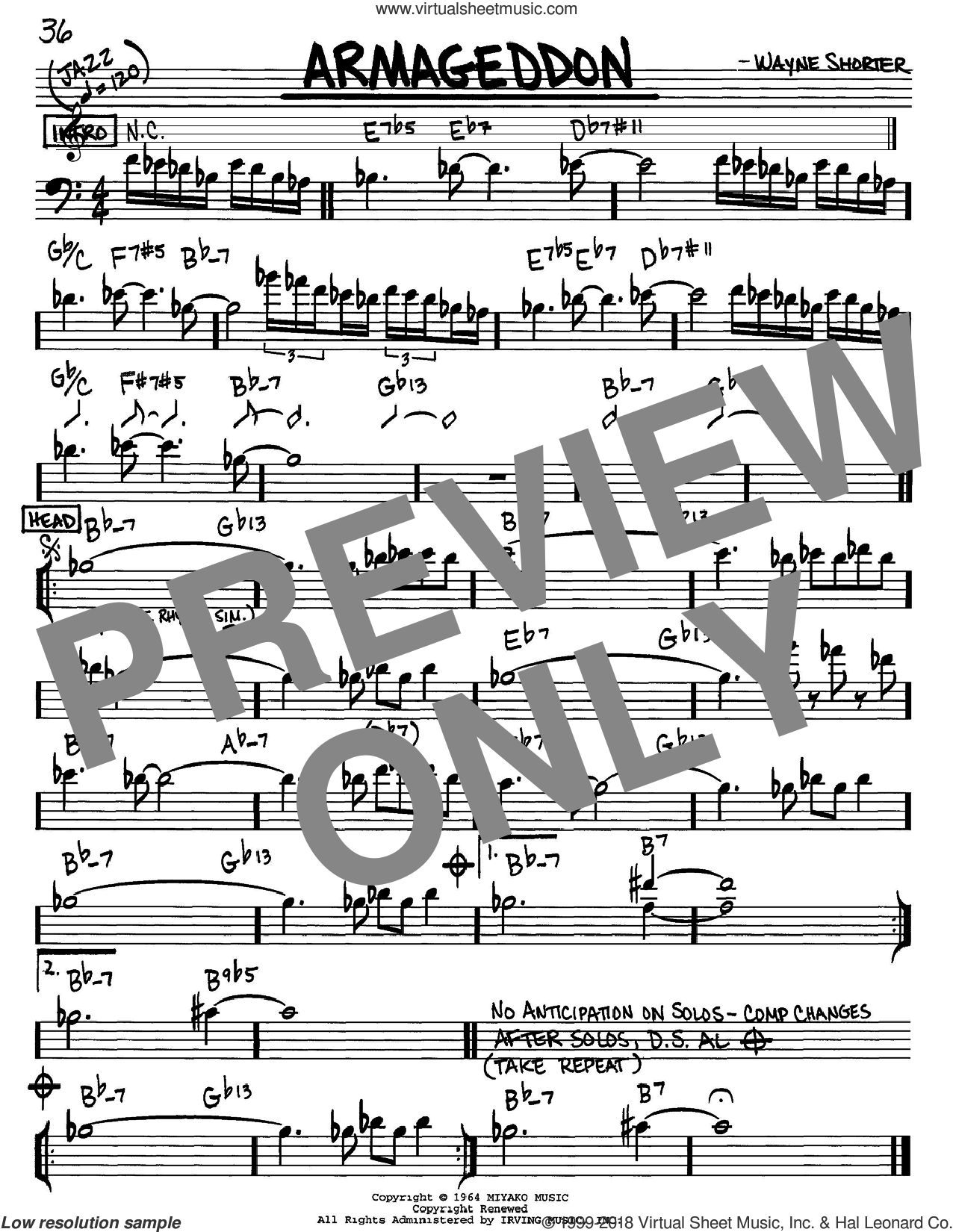 Armageddon sheet music for voice and other instruments (Bass Clef ) by Wayne Shorter, intermediate voice. Score Image Preview.