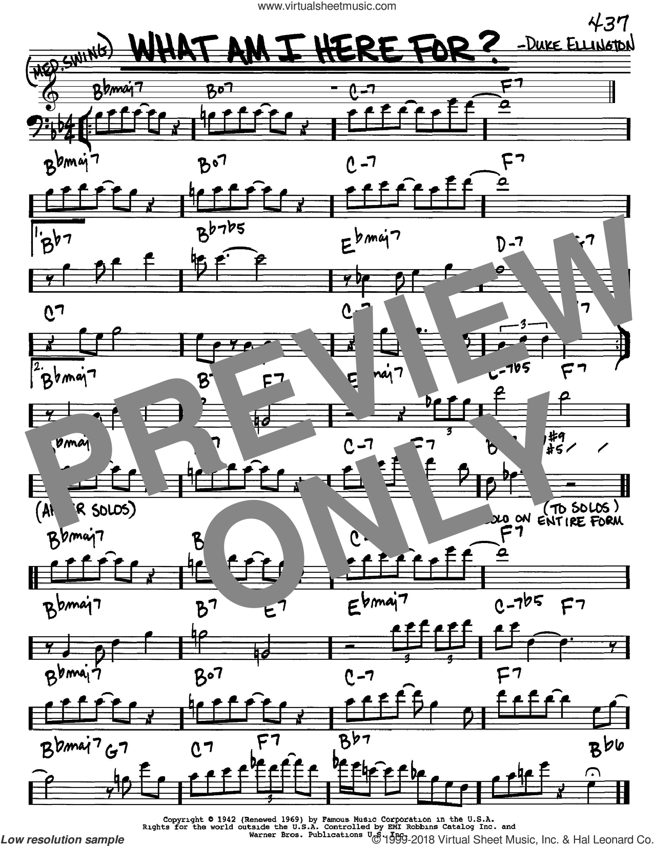 What Am I Here For? sheet music for voice and other instruments (bass clef) by Duke Ellington, intermediate. Score Image Preview.