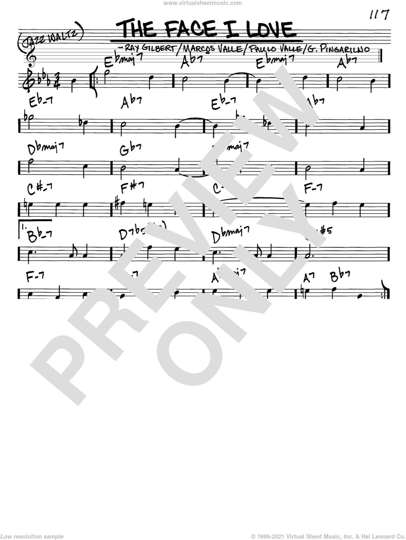 The Face I Love sheet music for voice and other instruments (in C) by Astrud Gilberto, G. Pingarilno, Marcos Valle, Paulo Valle and Ray Gilbert, intermediate skill level