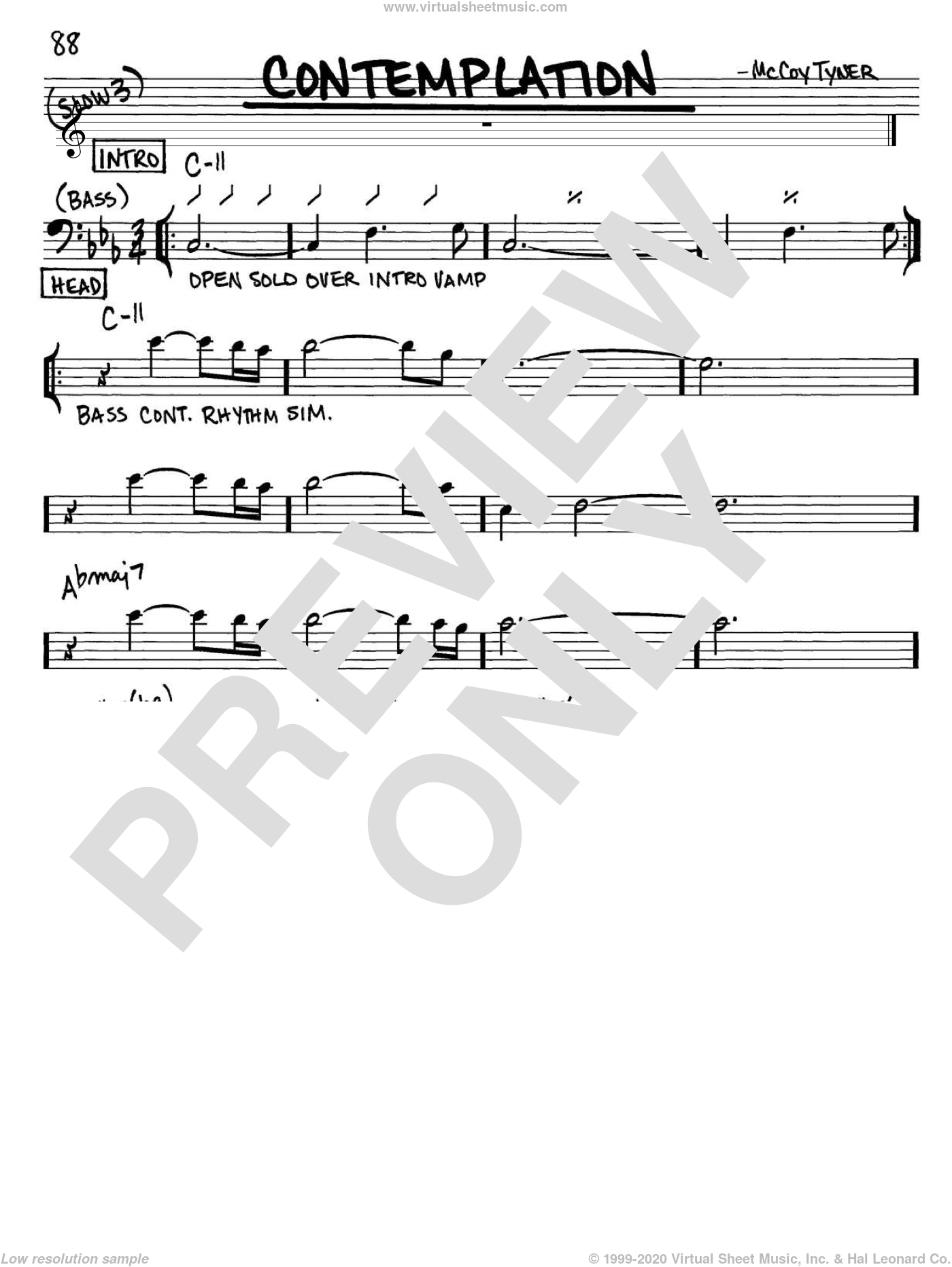Contemplation sheet music for voice and other instruments (Bass Clef ) by McCoy Tyner. Score Image Preview.