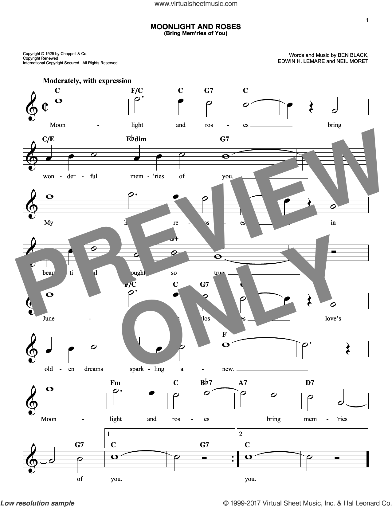 Moonlight And Roses (Bring Mem'ries Of You) sheet music for voice and other instruments (fake book) by Edwin Lemare, Ben Black and Neil Moret, intermediate skill level