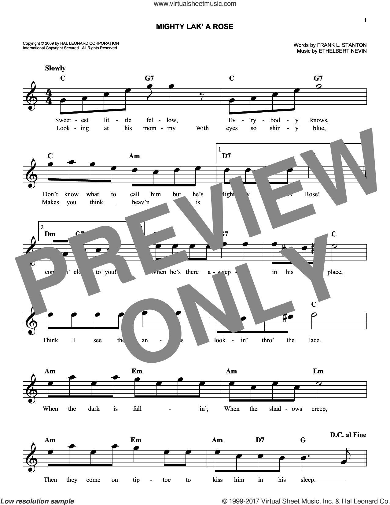 Mighty Lak' A Rose sheet music for voice and other instruments (fake book) by Ethelbert Nevin and Frank L. Stanton, intermediate skill level