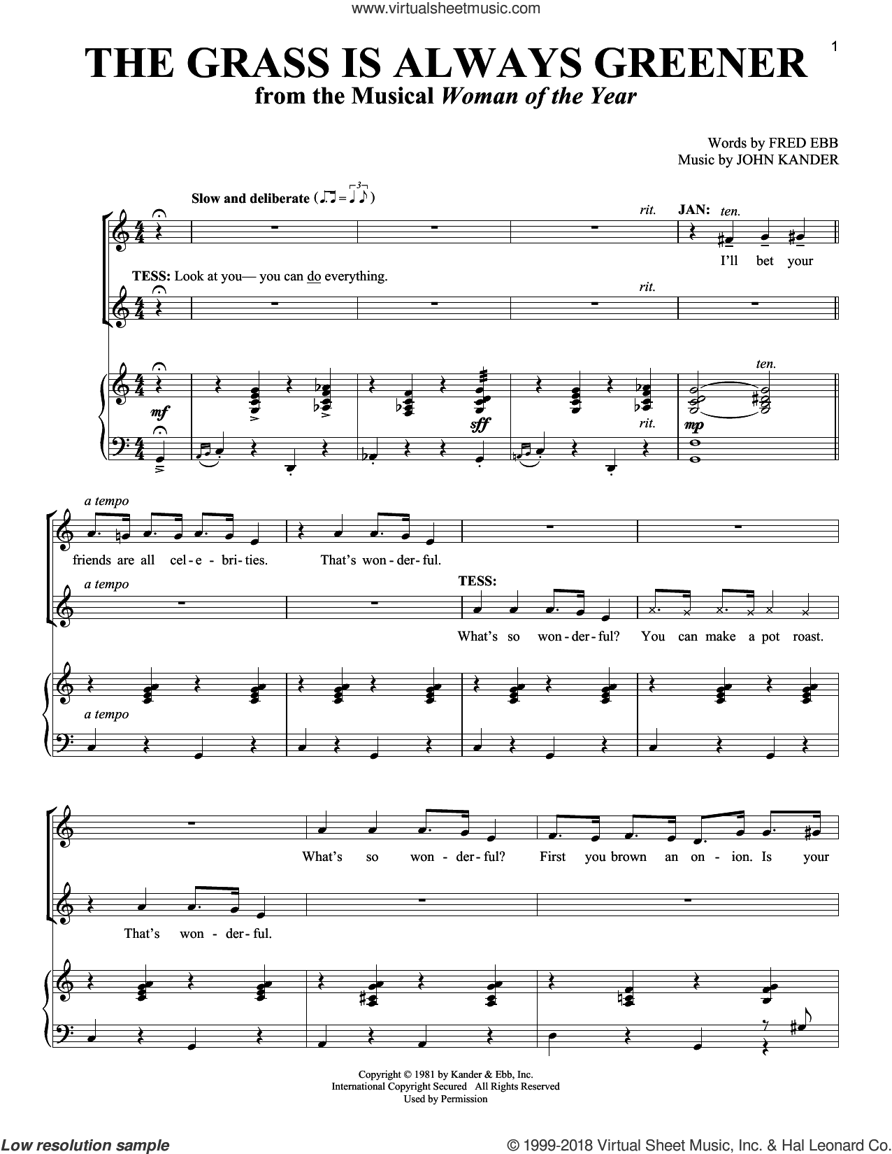 The Grass Is Always Greener sheet music for two voices and piano by John Kander and Fred Ebb, intermediate skill level