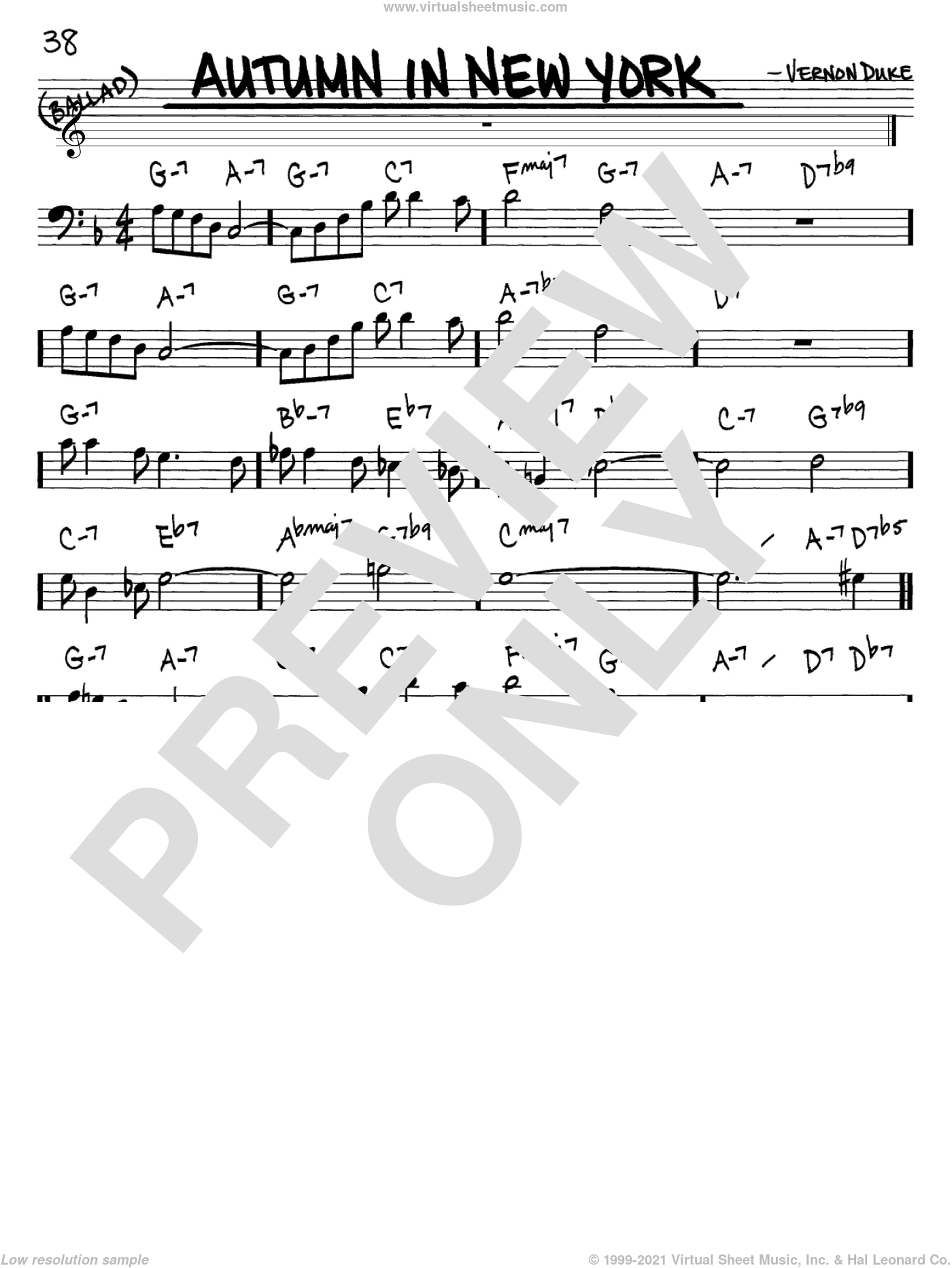 Autumn In New York sheet music for voice and other instruments (Bass Clef ) by Vernon Duke