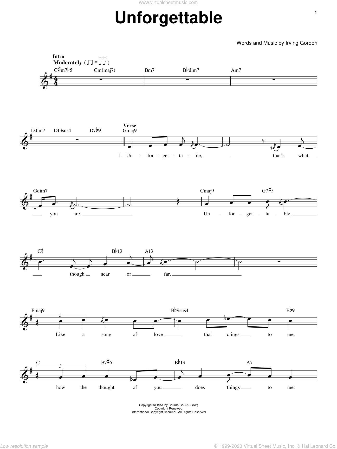 Unforgettable sheet music for voice solo by Nat King Cole and Irving Gordon, intermediate skill level