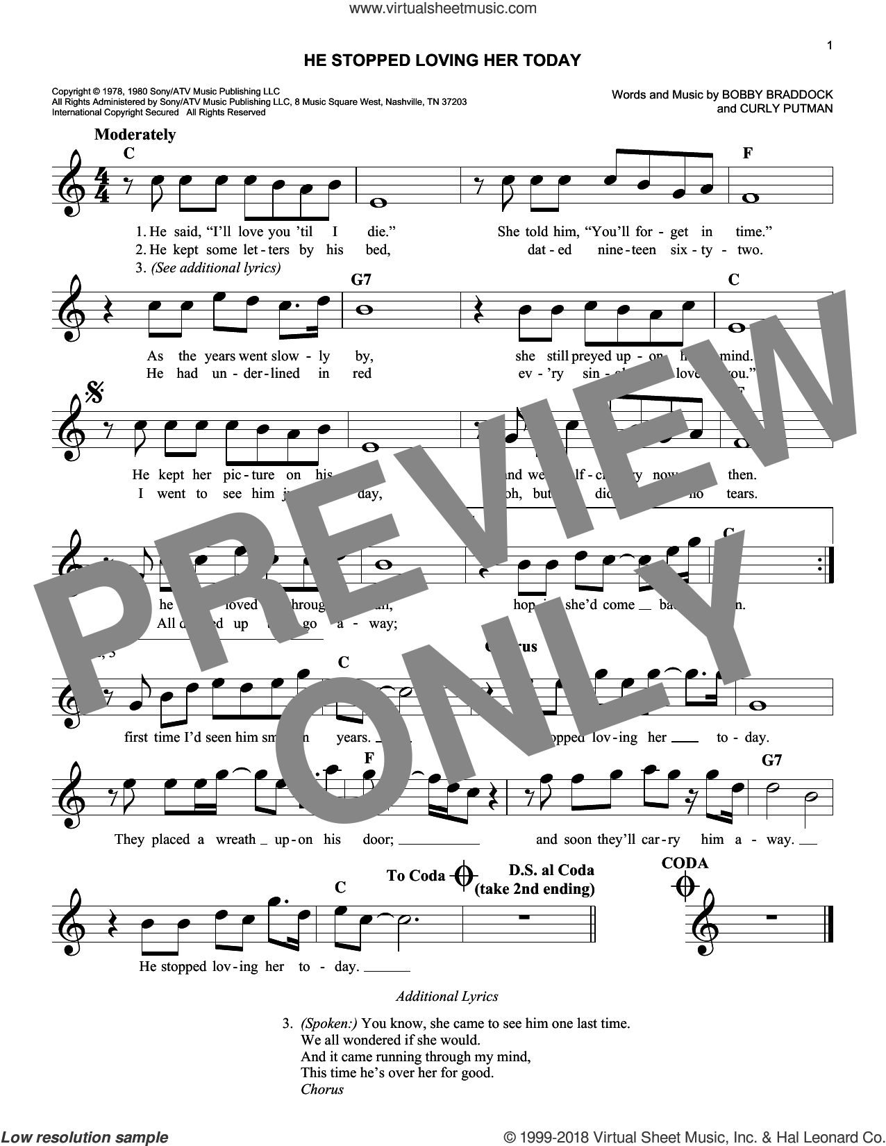 He Stopped Loving Her Today sheet music for voice and other instruments (fake book) by George Jones, Bobby Braddock and Curly Putman, intermediate skill level