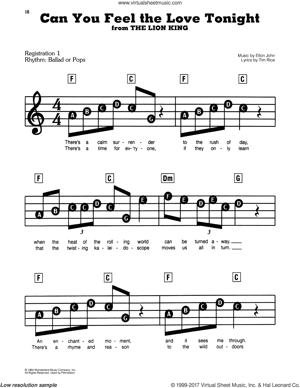 Can You Feel The Love Tonight (from The Lion King) sheet music for piano or keyboard (E-Z Play) by Elton John and Tim Rice, easy skill level