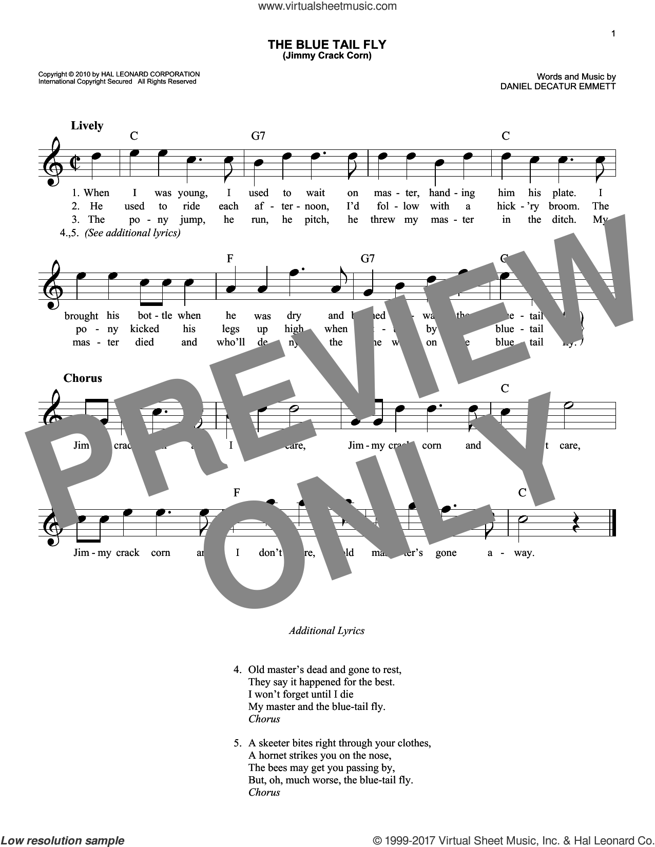 The Blue Tail Fly (Jimmy Crack Corn) sheet music for voice and other instruments (fake book) by Daniel Decatur Emmett, intermediate skill level