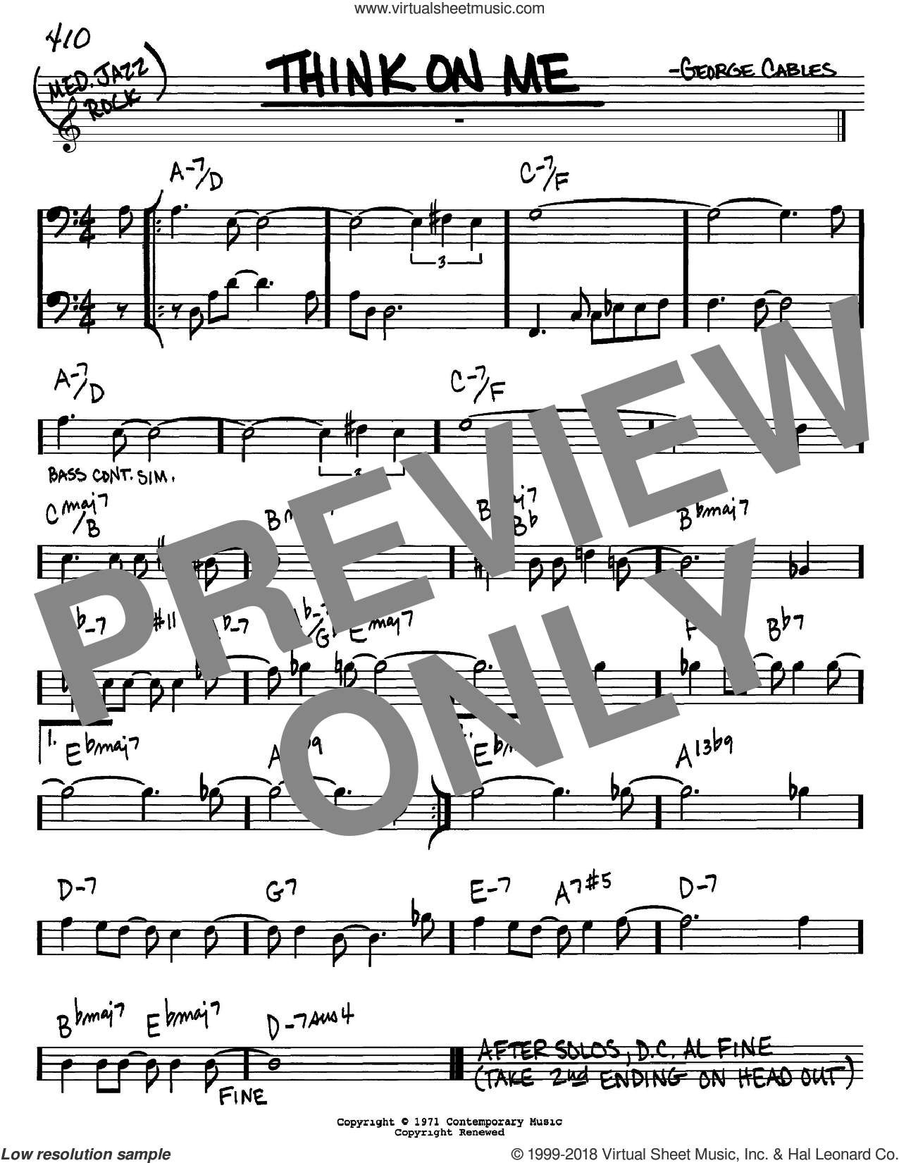 Think On Me sheet music for voice and other instruments (Bass Clef ) by George Cables. Score Image Preview.