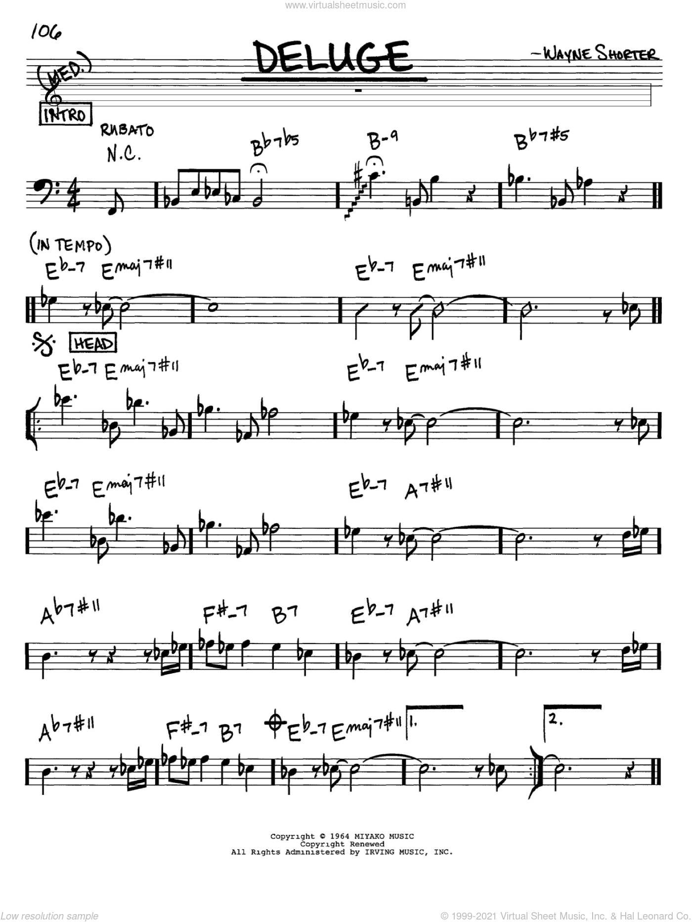 Deluge sheet music for voice and other instruments (bass clef) by Wayne Shorter, intermediate. Score Image Preview.