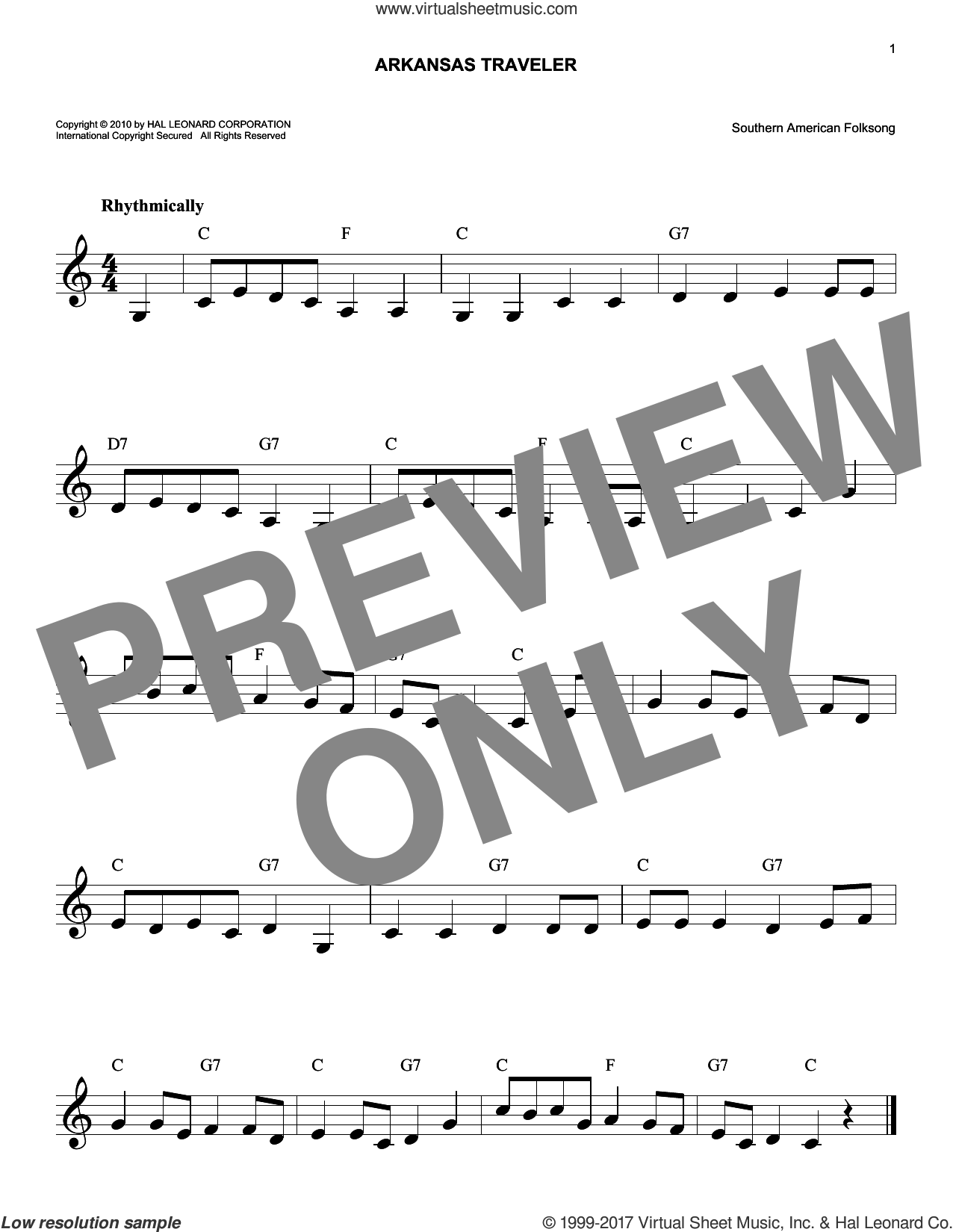 Arkansas Traveler sheet music for voice and other instruments (fake book), intermediate skill level