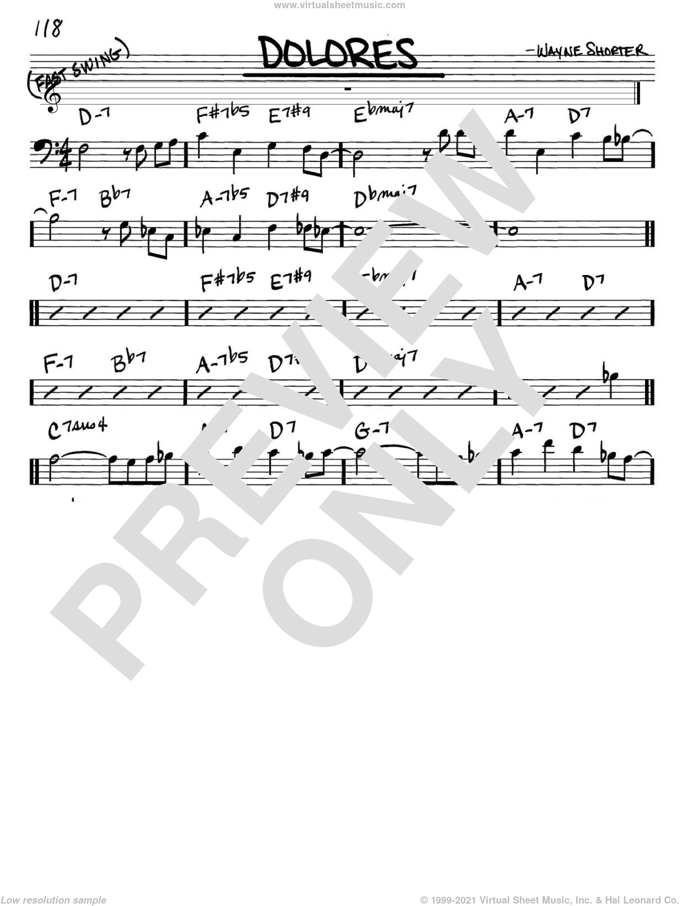 Dolores sheet music for voice and other instruments (bass clef) by Wayne Shorter, intermediate