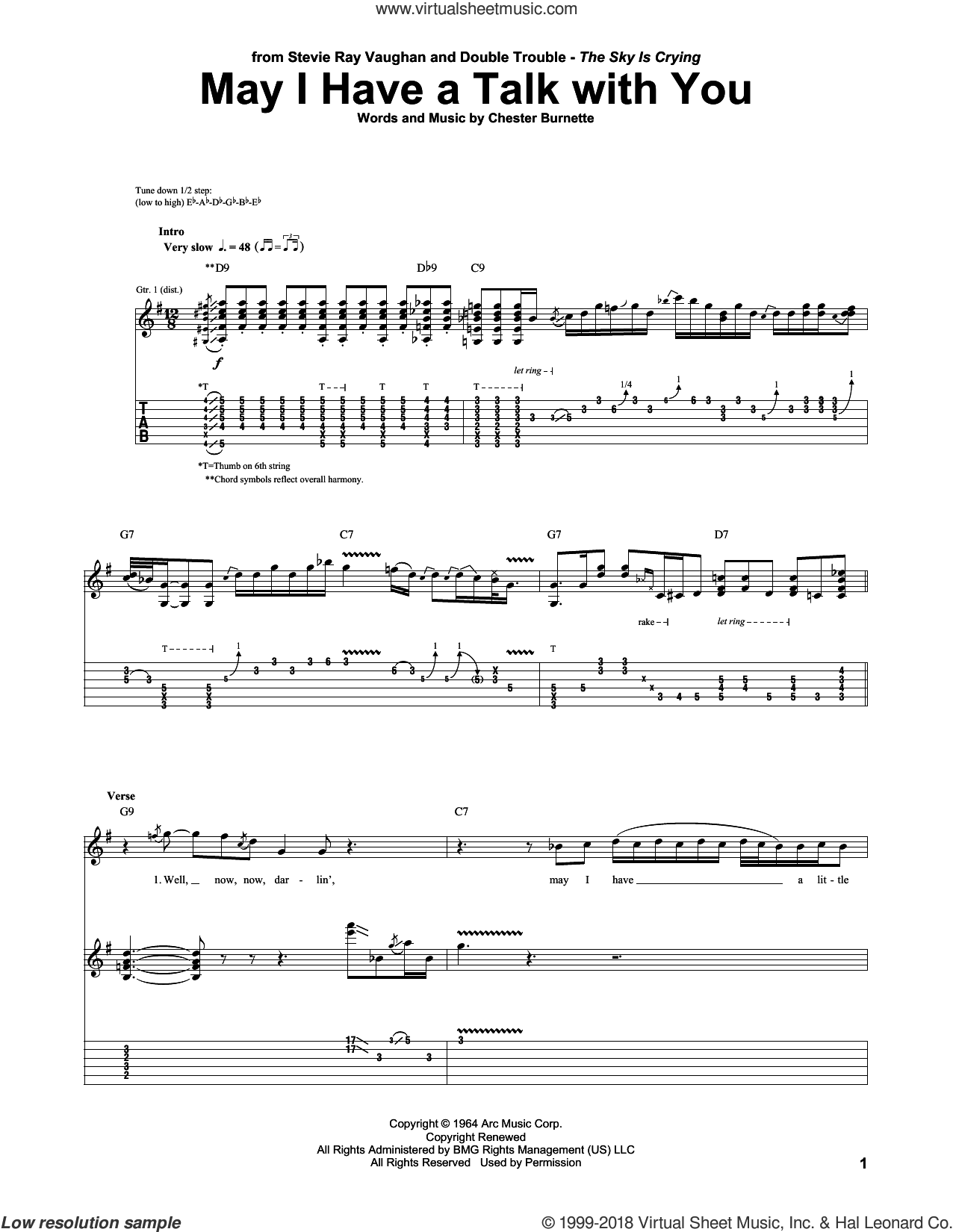 May I Have A Talk With You sheet music for guitar (tablature) by Stevie Ray Vaughan and Chester Burnett, intermediate skill level