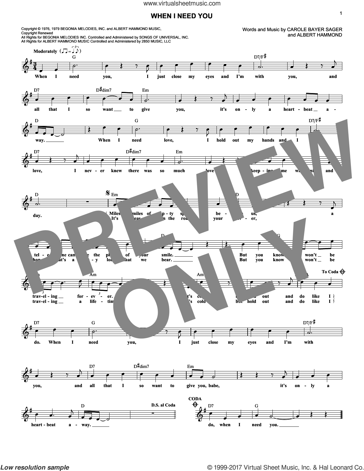 When I Need You sheet music for voice and other instruments (fake book) by Leo Sayer, Albert Hammond and Carole Bayer Sager, intermediate skill level