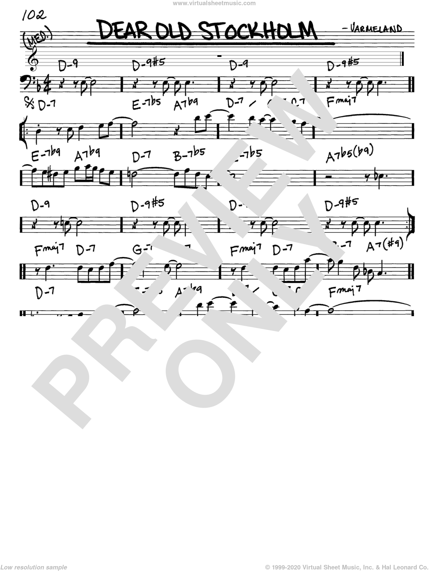 Dear Old Stockholm sheet music for voice and other instruments (Bass Clef ) by Varmeland. Score Image Preview.