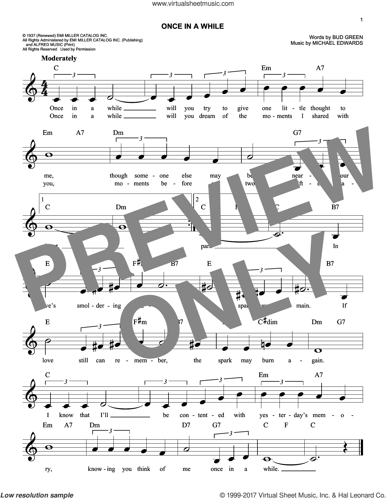 Once In A While sheet music for voice and other instruments (fake book) by Bud Green and Michael Edwards, intermediate skill level