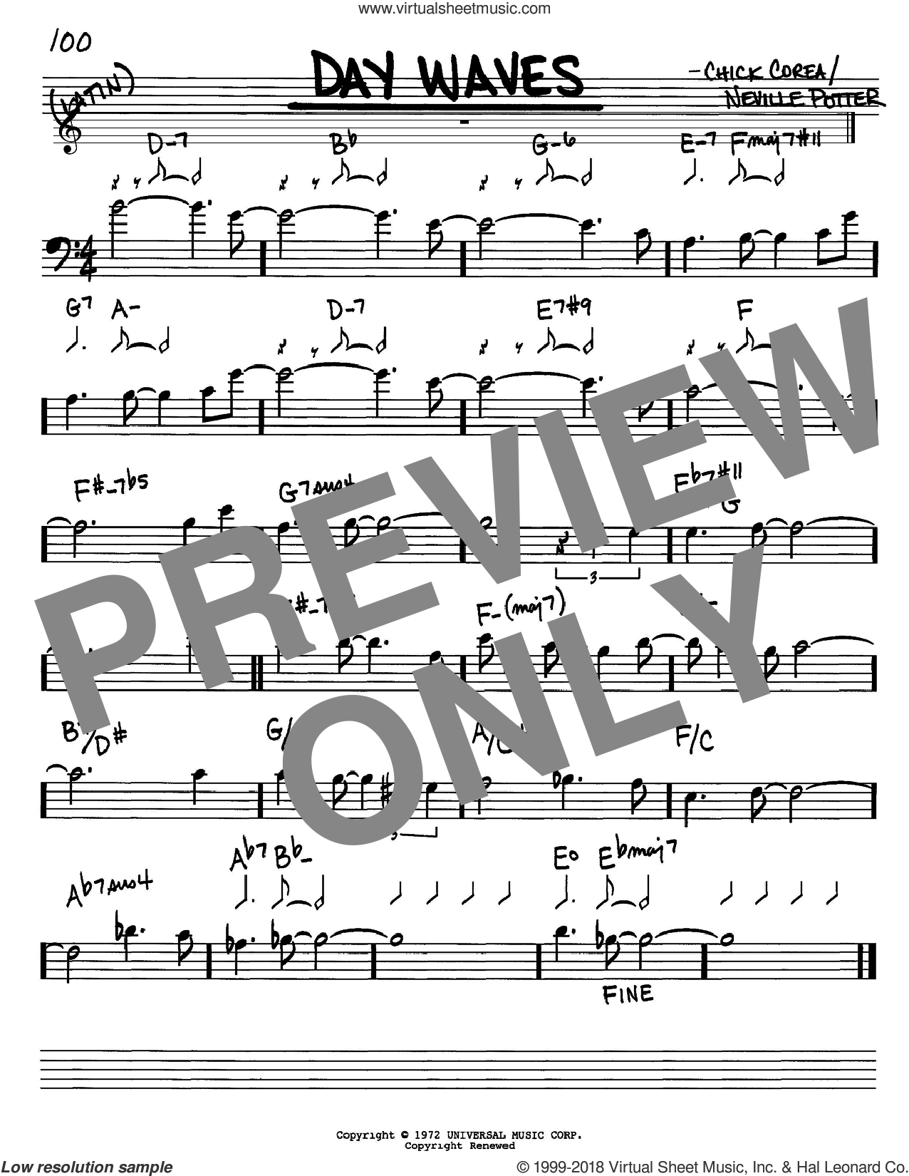Day Waves sheet music for voice and other instruments (Bass Clef ) by Chick Corea. Score Image Preview.