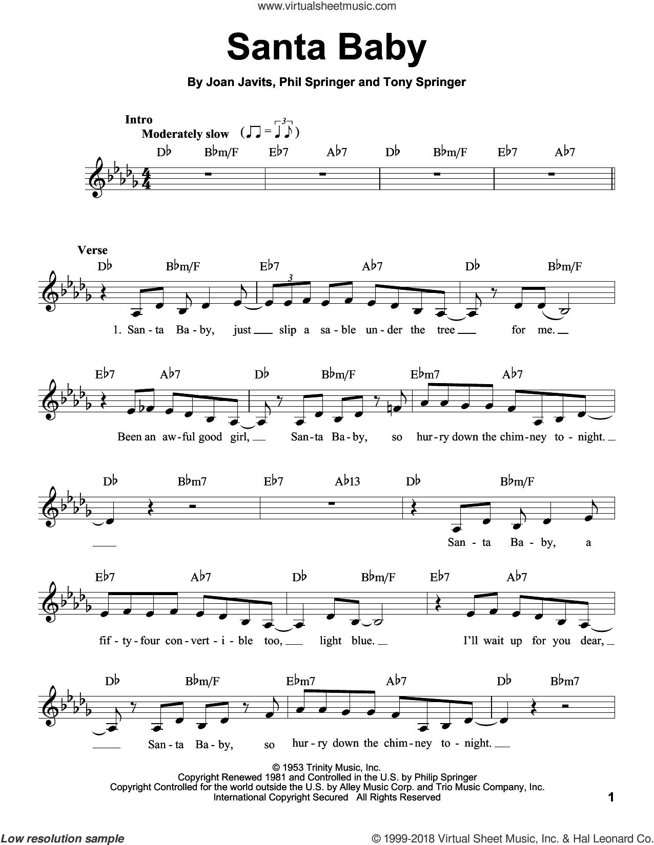 Santa Baby sheet music for voice solo by Eartha Kitt, Joan Javits, Phil Springer and Tony Springer, intermediate skill level