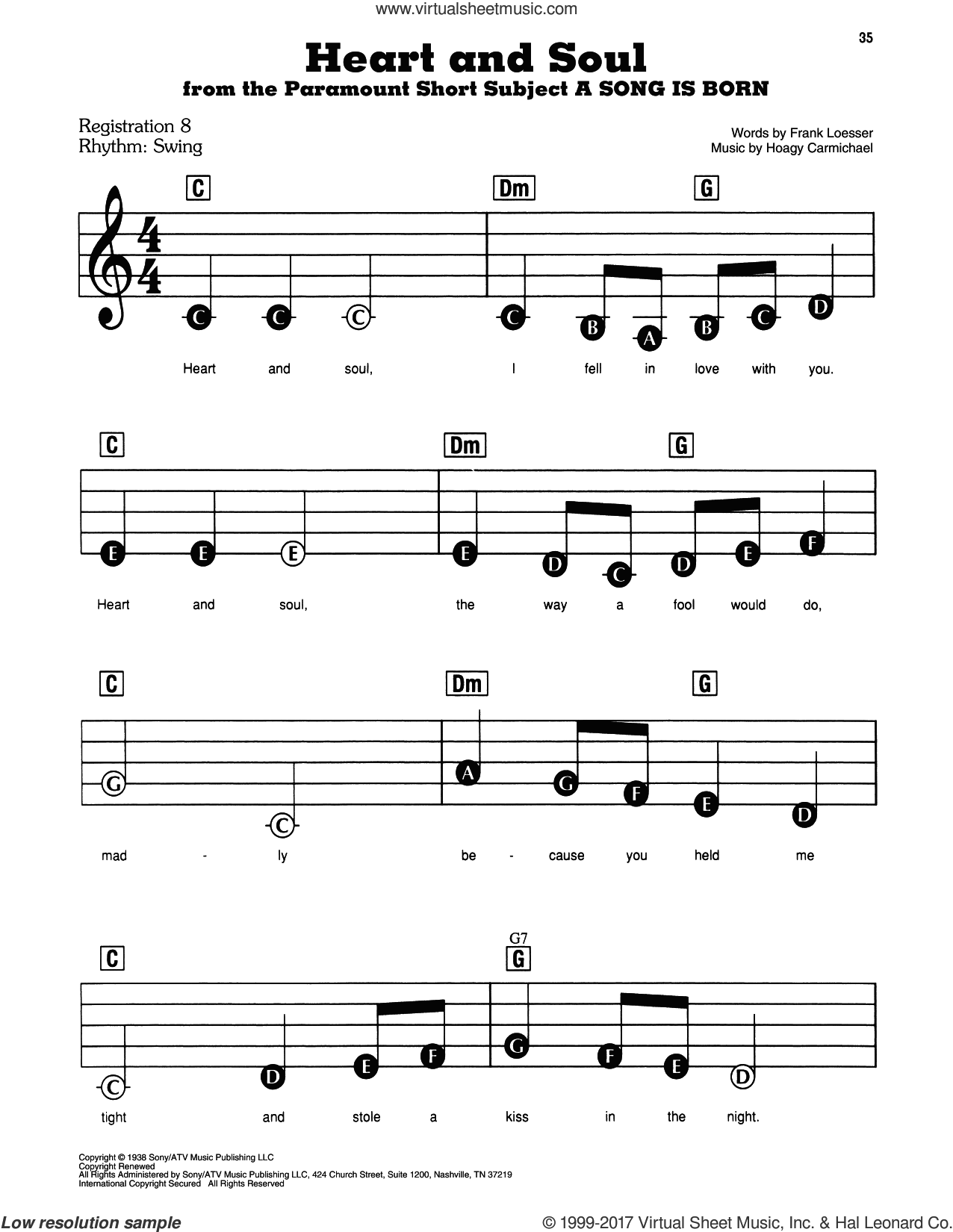 Heart And Soul sheet music for piano or keyboard (E-Z Play) by Frank Loesser and Hoagy Carmichael, easy skill level