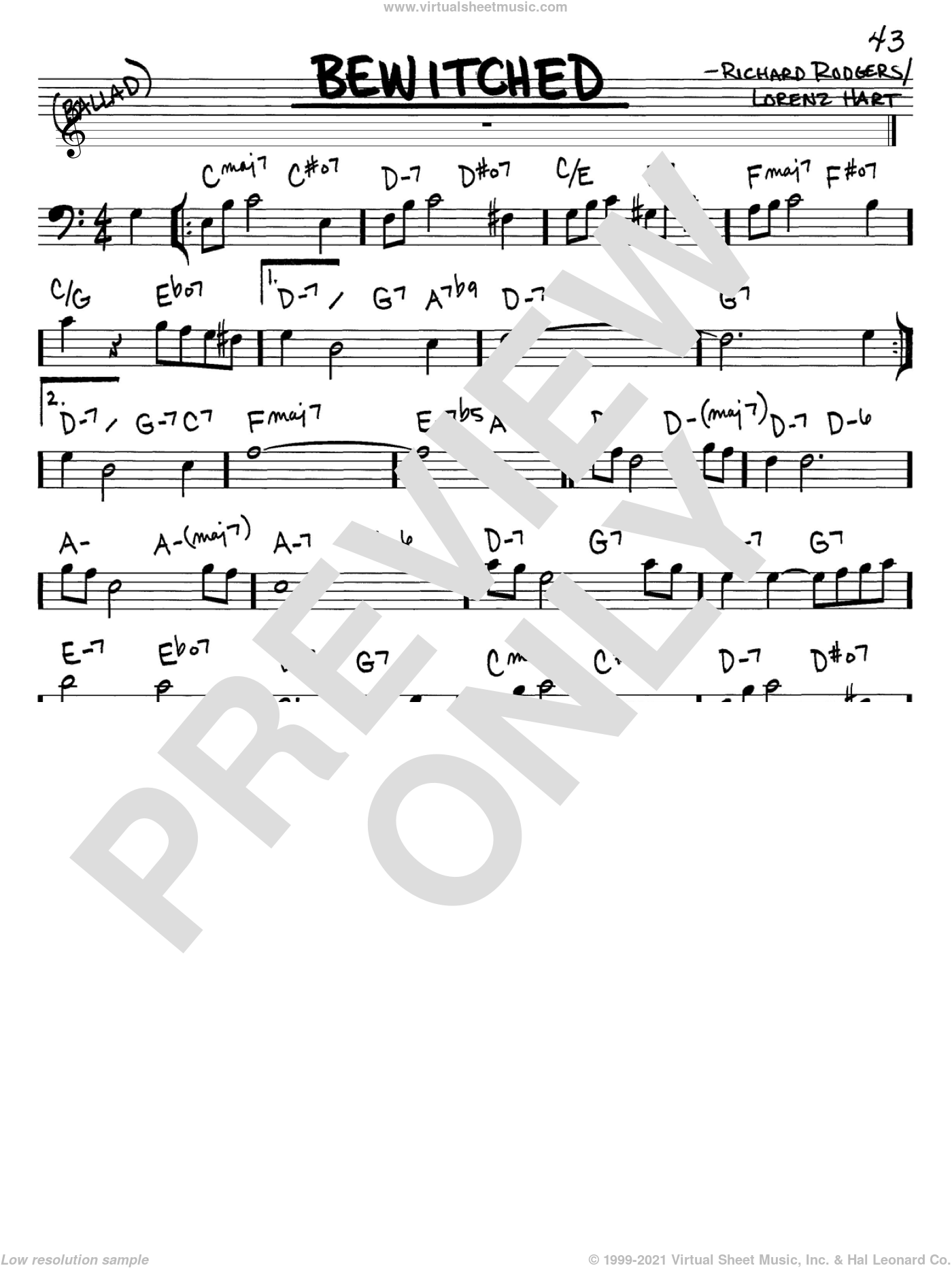 Bewitched sheet music for voice and other instruments (Bass Clef ) by Rodgers & Hart, Lorenz Hart and Richard Rodgers, intermediate voice. Score Image Preview.