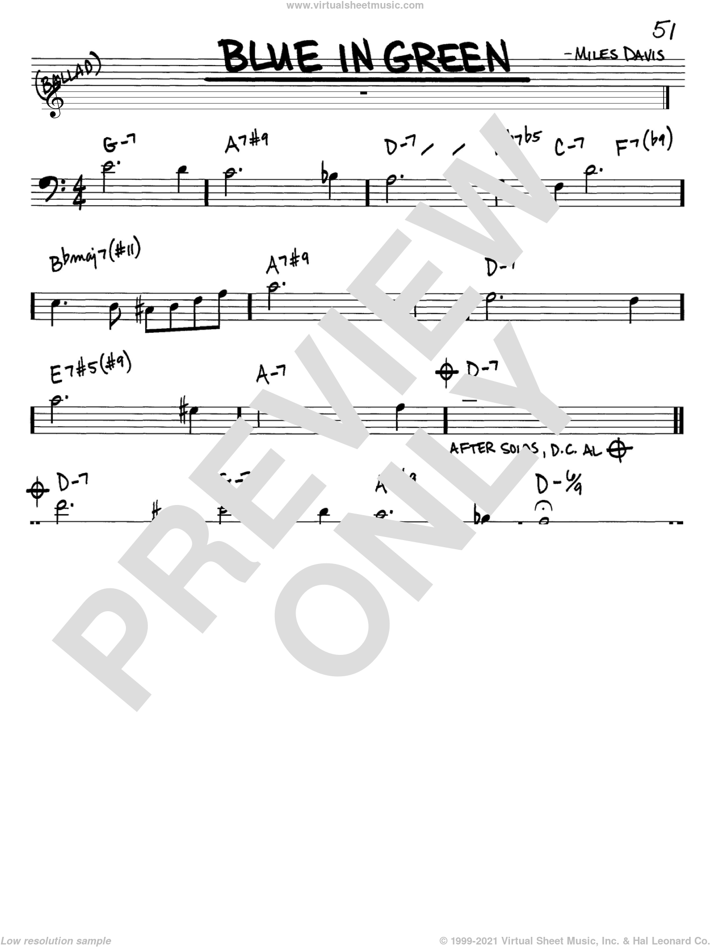 Blue In Green sheet music for voice and other instruments (bass clef) by Miles Davis, intermediate. Score Image Preview.