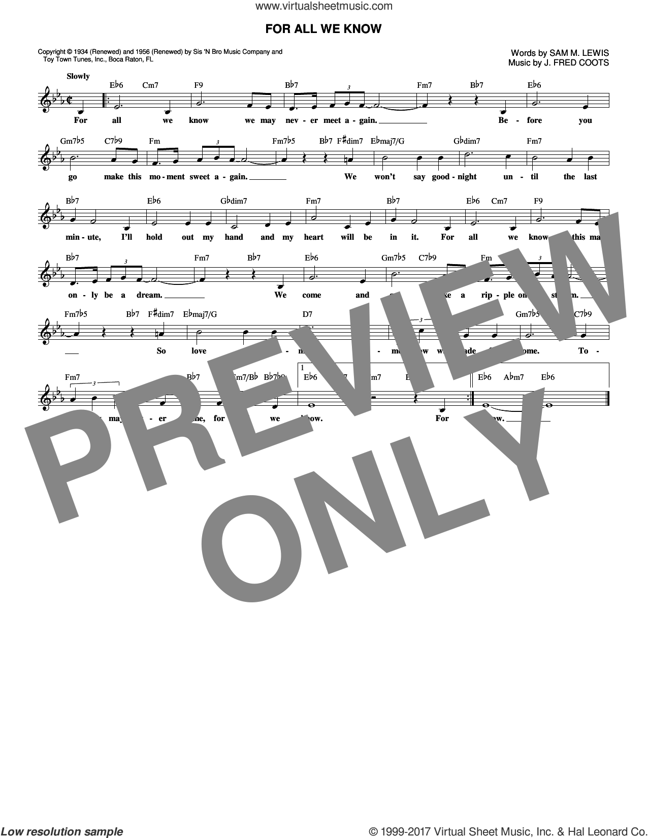 For All We Know sheet music for voice and other instruments (fake book) by J. Fred Coots and Sam Lewis, intermediate skill level
