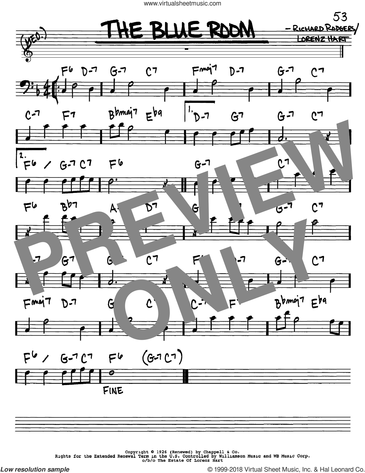 The Blue Room sheet music for voice and other instruments (Bass Clef ) by Rodgers & Hart, Lorenz Hart and Richard Rodgers. Score Image Preview.