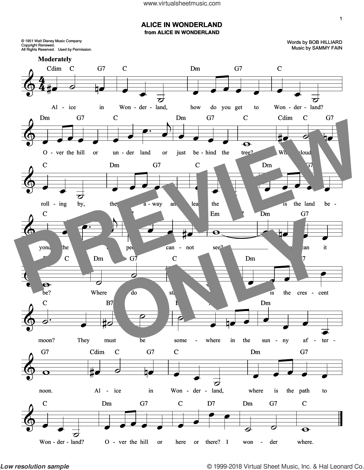 Alice In Wonderland sheet music for voice and other instruments (fake book) by Sammy Fain, Bill Evans and Bob Hilliard, intermediate skill level