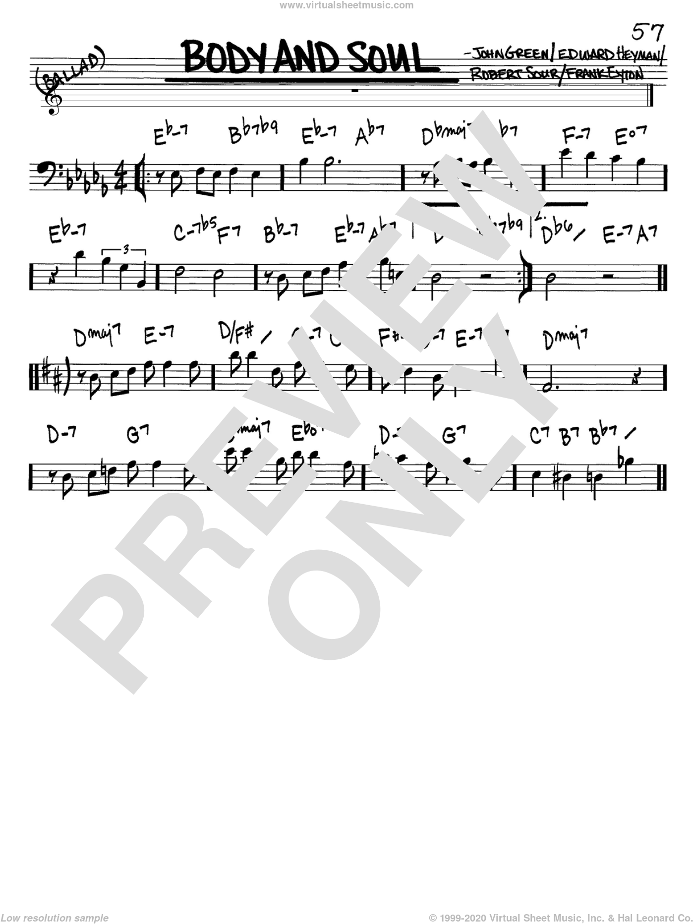 Body And Soul sheet music for voice and other instruments (Bass Clef ) by Edward Heyman, Frank Eyton, Johnny Green and Robert Sour, intermediate voice. Score Image Preview.