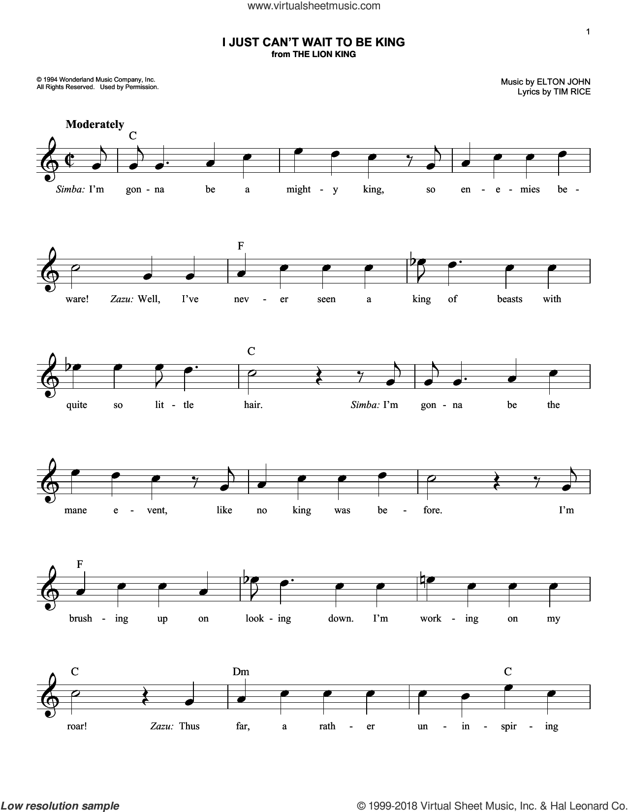 I Just Can't Wait To Be King (from The Lion King) sheet music for voice and other instruments (fake book) by Elton John and Tim Rice, intermediate skill level