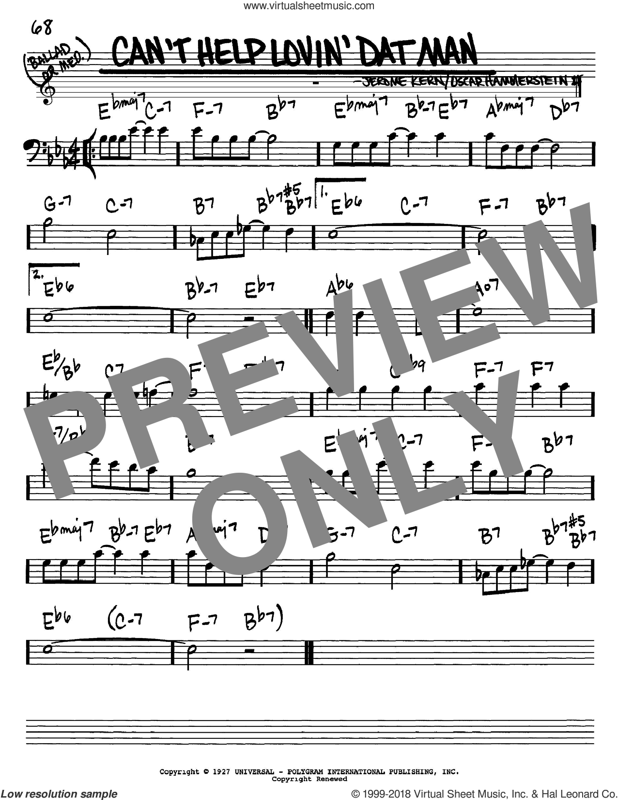 Can't Help Lovin' Dat Man sheet music for voice and other instruments (bass clef) by Jerome Kern, Show Boat (Musical) and Oscar II Hammerstein, intermediate. Score Image Preview.
