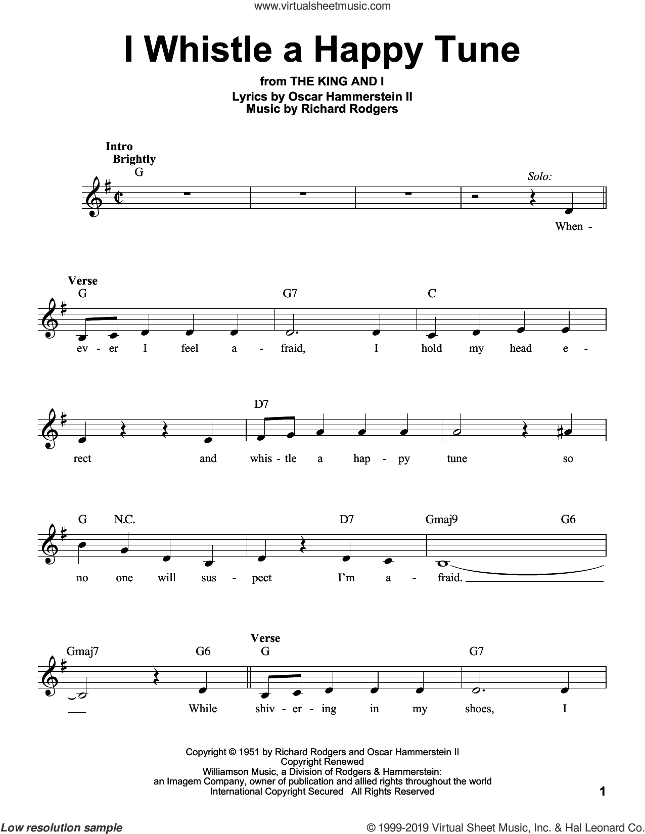I Whistle A Happy Tune sheet music for voice solo by Rodgers & Hammerstein, Oscar II Hammerstein and Richard Rodgers, intermediate skill level