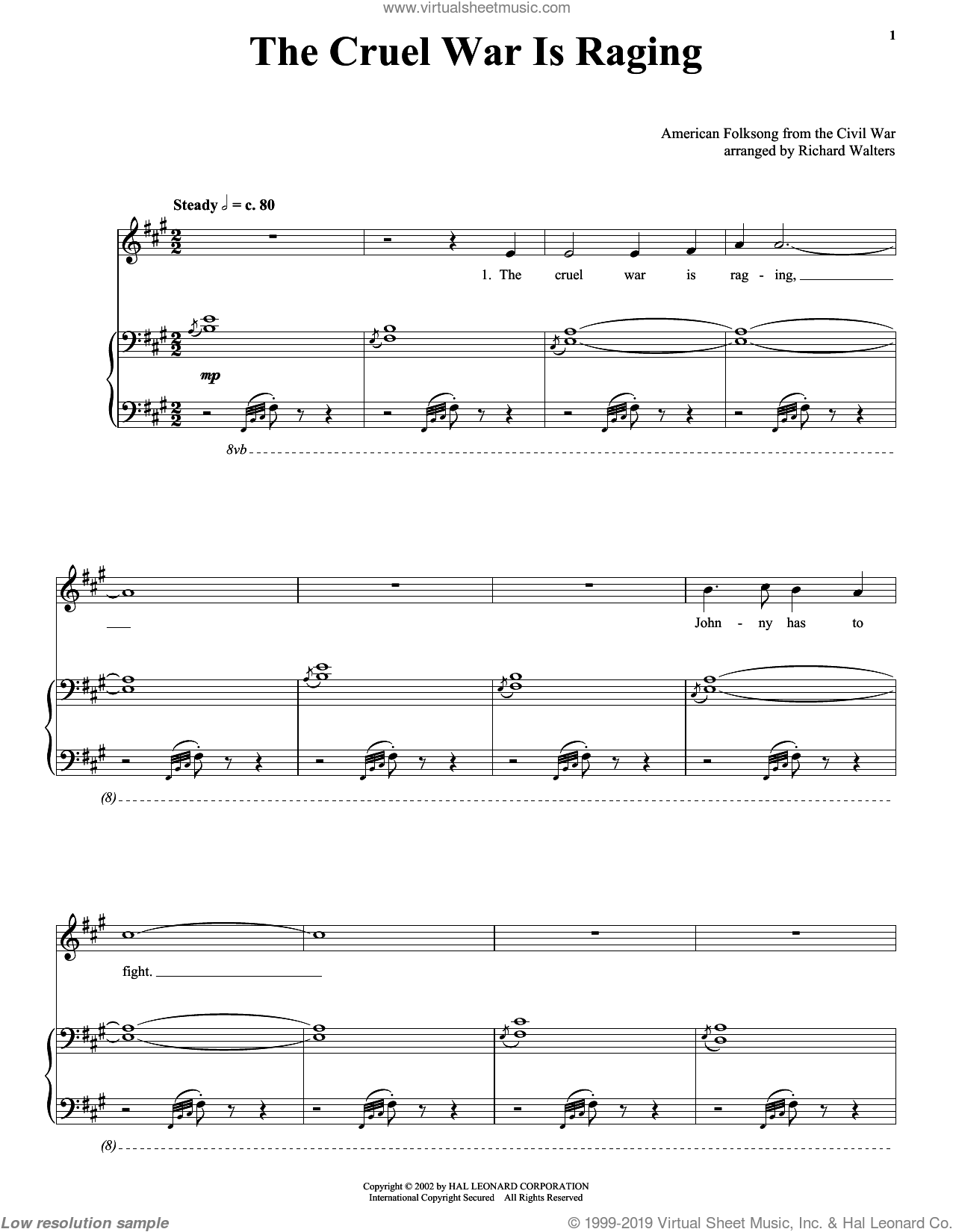 The Cruel War Is Raging sheet music for voice, piano or guitar, intermediate skill level