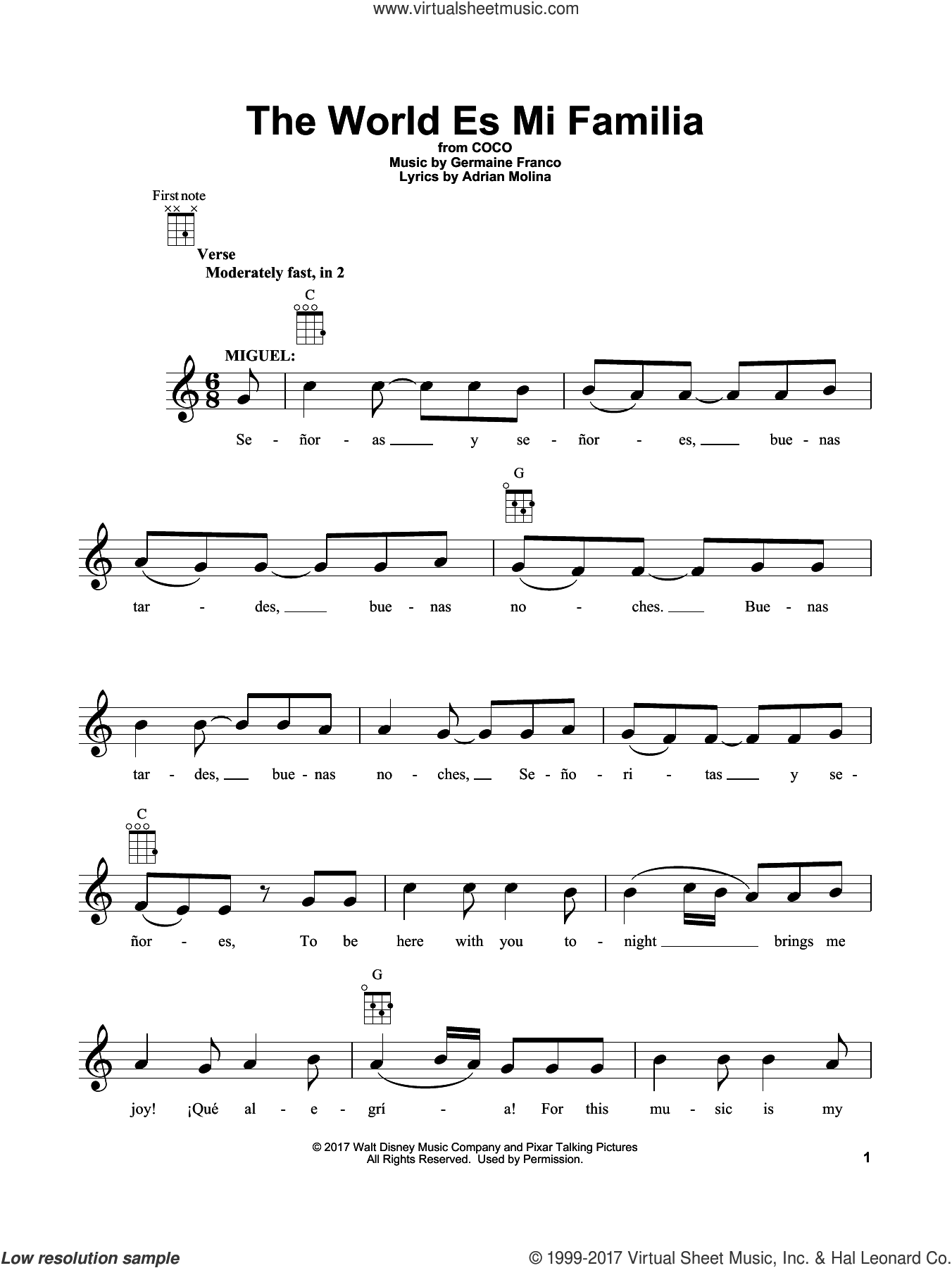 The World Es Mi Familia sheet music for ukulele by Adrian Molina, Coco (Movie) and Germaine Franco, intermediate skill level