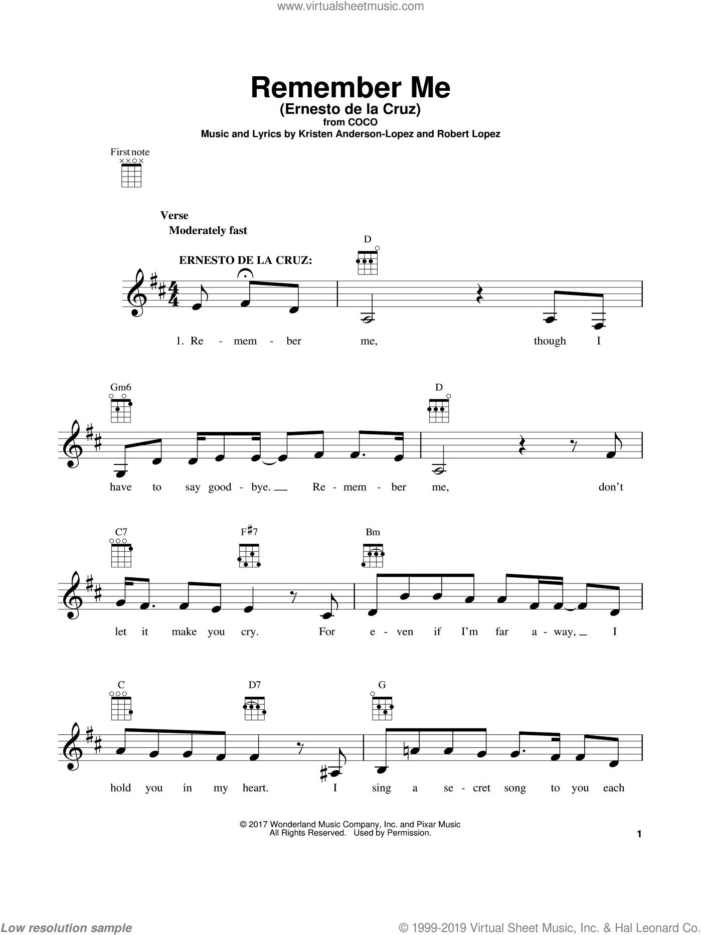 Remember Me (Ernesto de la Cruz) sheet music for ukulele by Kristen Anderson-Lopez, Coco (Movie) and Robert Lopez, intermediate skill level