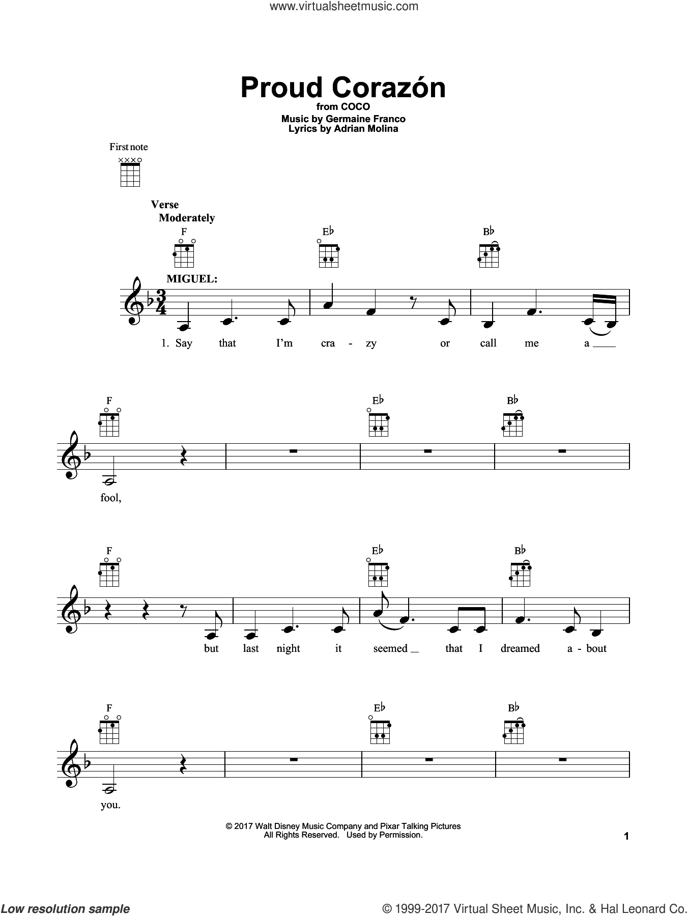 Proud Corazon sheet music for ukulele by Adrian Molina, Coco (Movie) and Germaine Franco, intermediate skill level