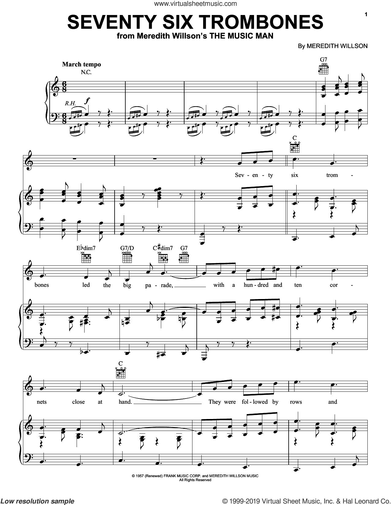 Seventy Six Trombones sheet music for voice, piano or guitar by Meredith Willson, intermediate skill level