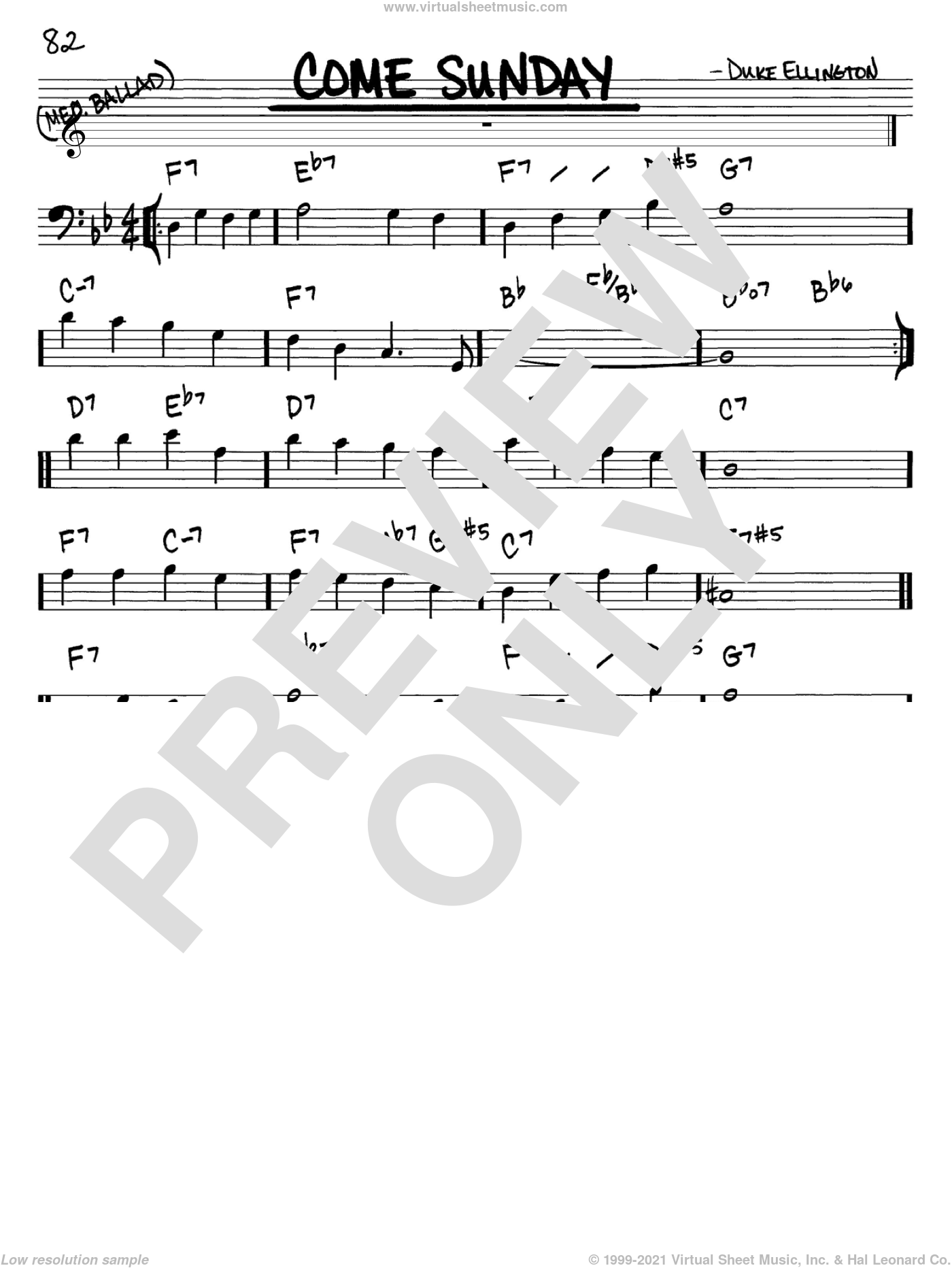 Come Sunday sheet music for voice and other instruments (Bass Clef ) by Duke Ellington. Score Image Preview.