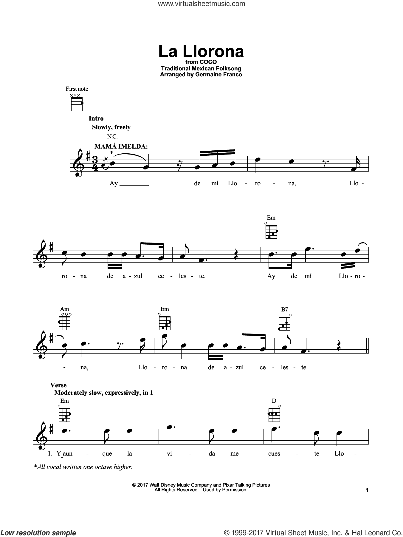 La Llorona (from Coco) sheet music for ukulele by Germaine Franco, Coco (Movie) and Traditional Mexican Folksong, intermediate skill level