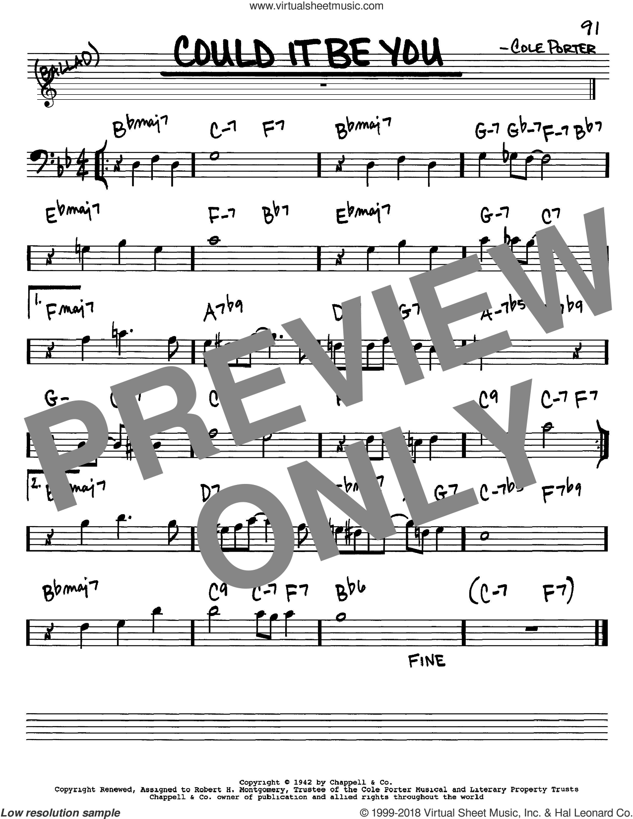 Could It Be You sheet music for voice and other instruments (bass clef) by Cole Porter, intermediate skill level