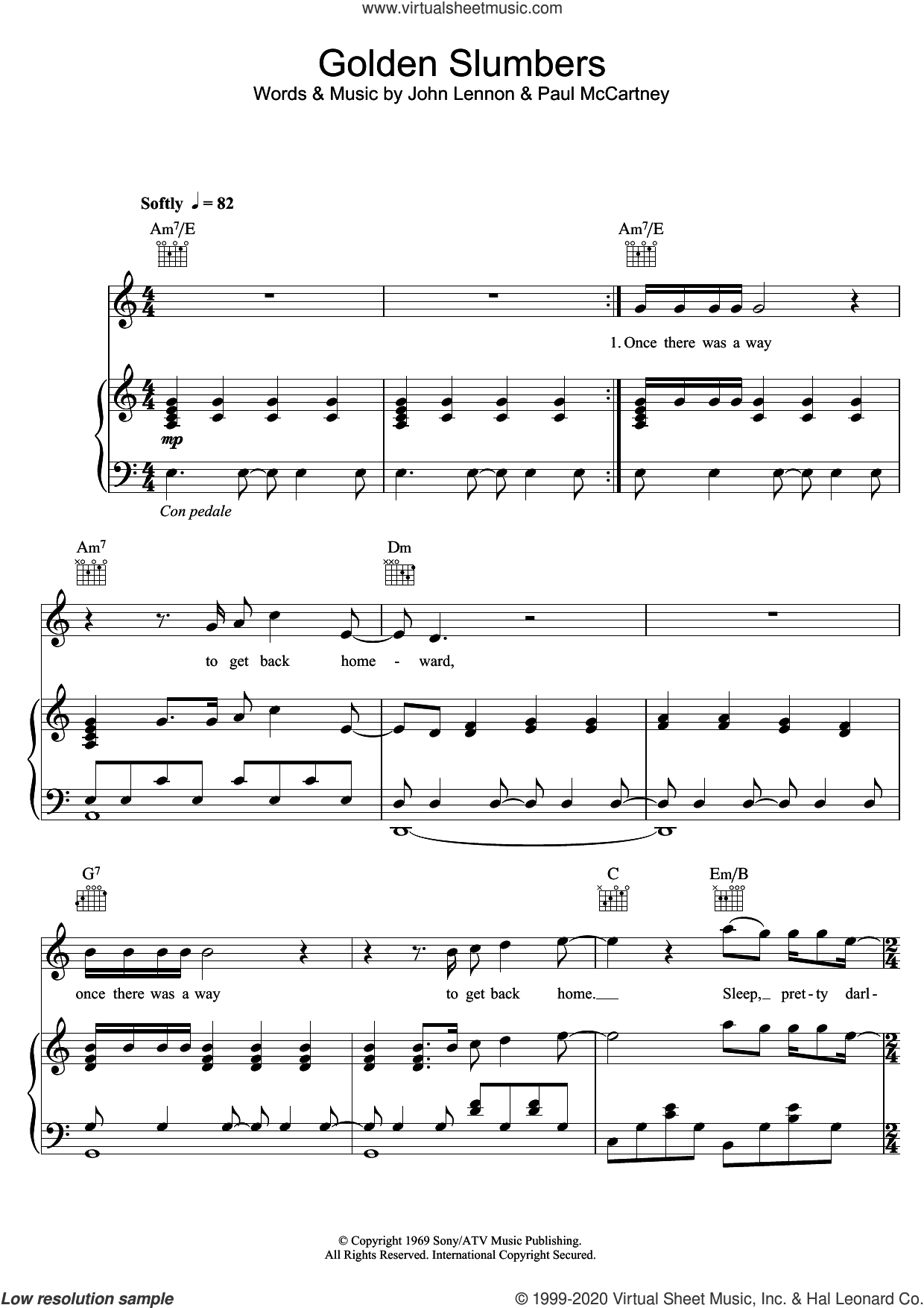 Golden Slumbers sheet music for voice, piano or guitar by Elbow, John Lennon and Paul McCartney, intermediate skill level