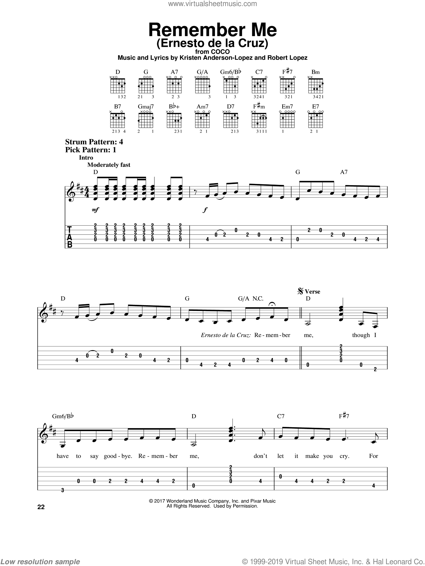 Remember Me (Ernesto de la Cruz) (from Coco) sheet music for guitar solo (easy tablature) by Kristen Anderson-Lopez, Coco (Movie), Kristen Anderson-Lopez & Robert Lopez and Robert Lopez, easy guitar (easy tablature)