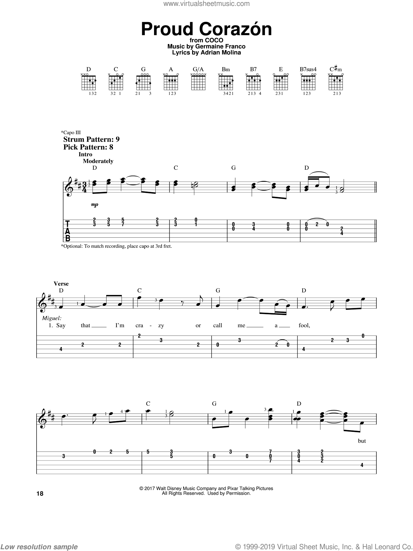 Proud Corazon sheet music for guitar solo (easy tablature) by Adrian Molina, Coco (Movie) and Germaine Franco, easy guitar (easy tablature)